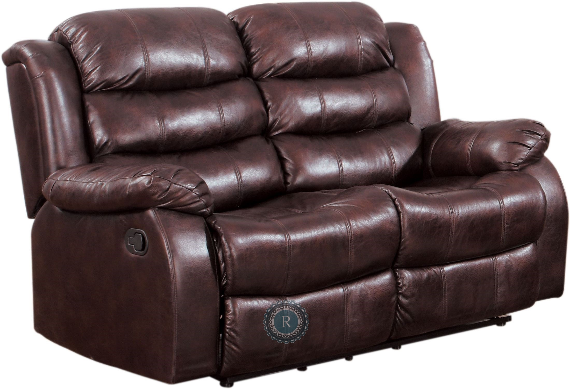 Smithee Burgundy Double Reclining Loveseat From