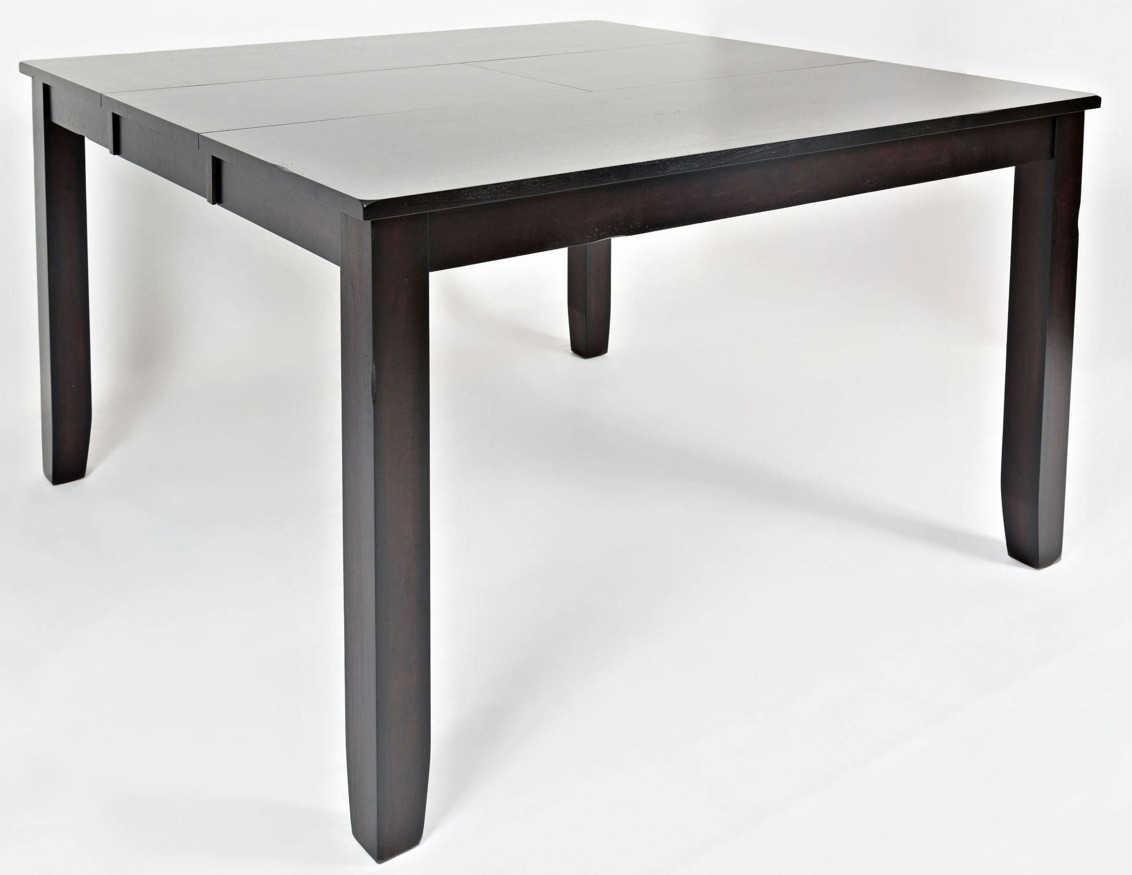 Dark rustic prairie extendable counter height dining table for Counter height extendable dining table
