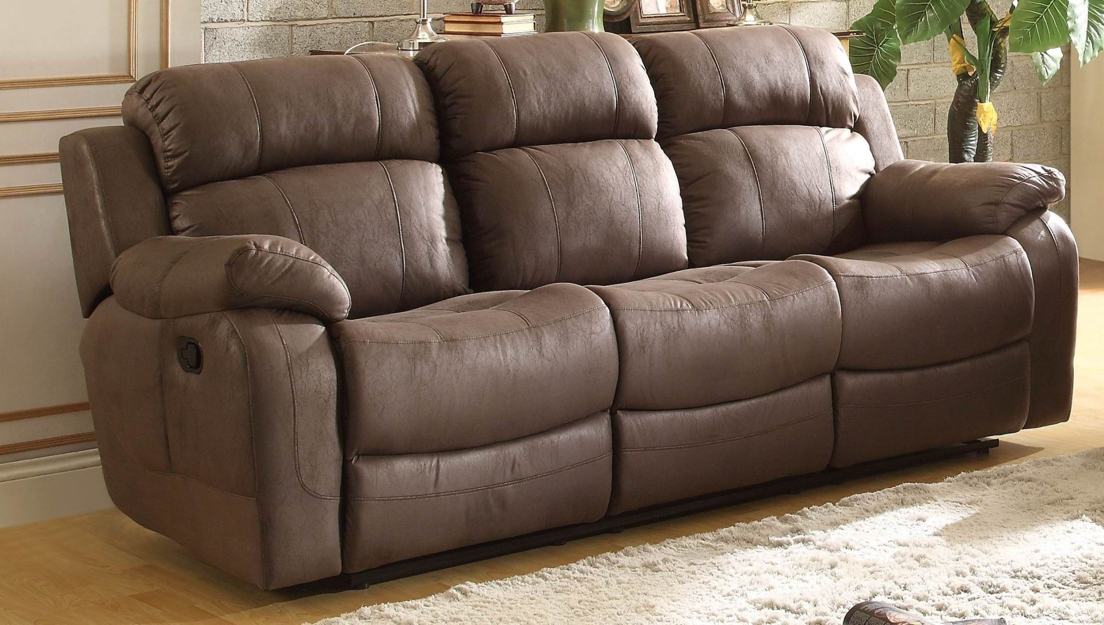 Marille Brown Double Reclining Sofa With Drop Down Cup Holder 9724bj 3 Homelegance