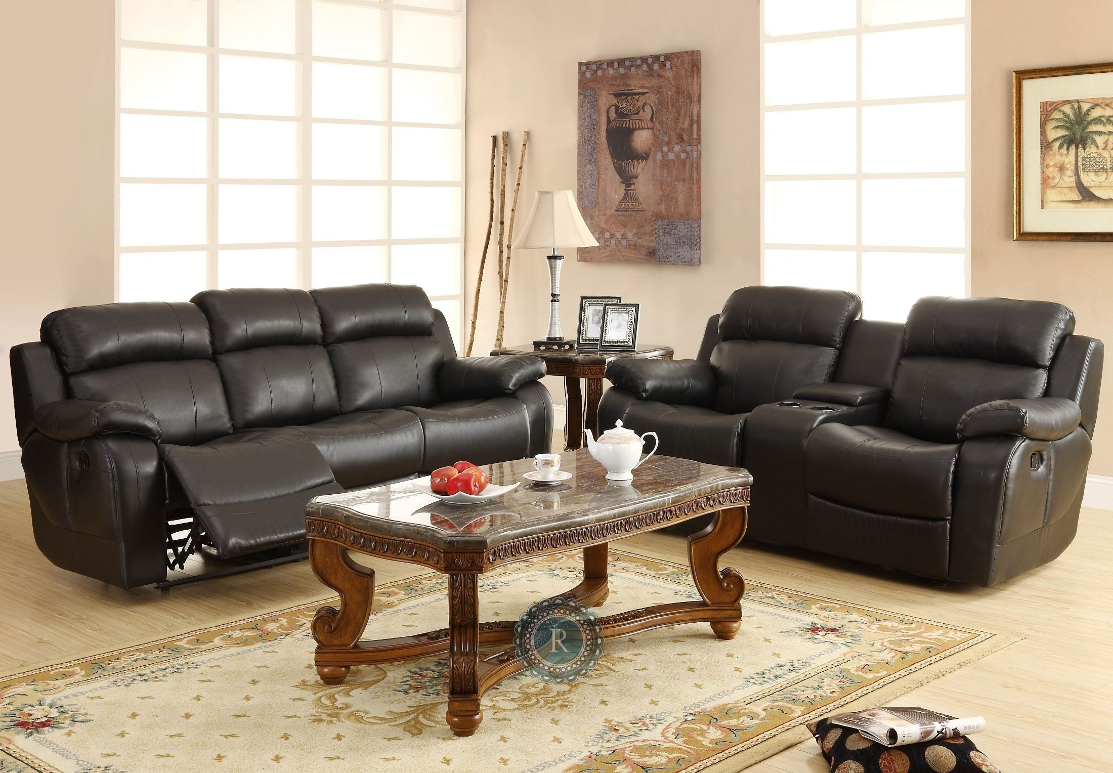 Marille Black Double Glider Reclining Loveseat With Center Console From Homelegance 9724blk 2
