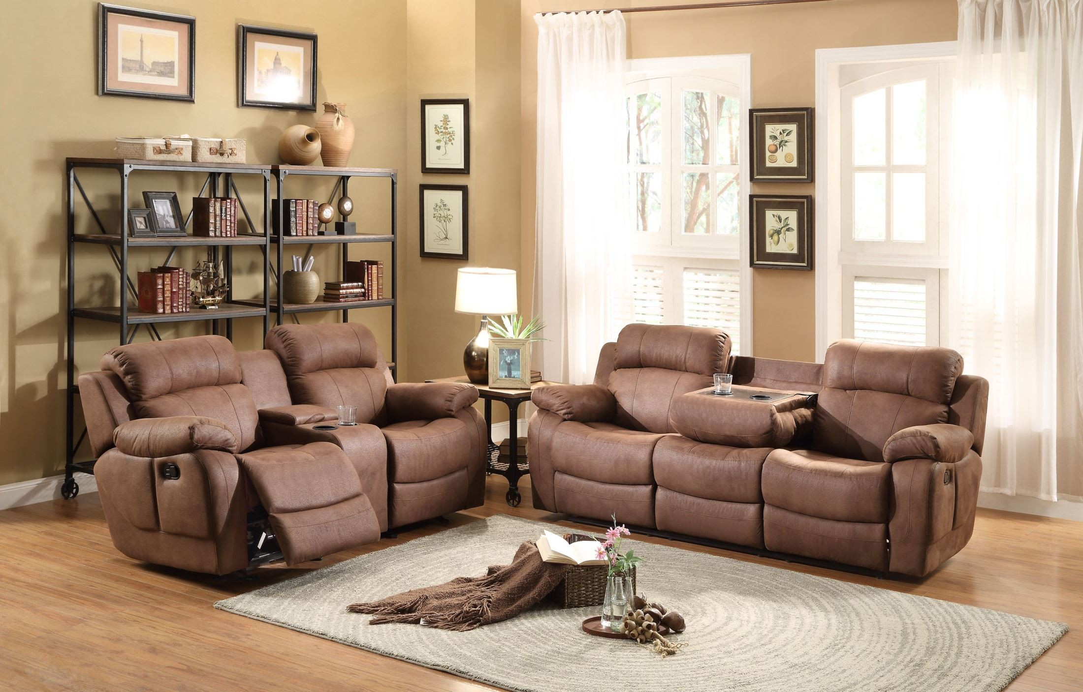 Marille dark brown double reclining living room set from for Dark brown living room set