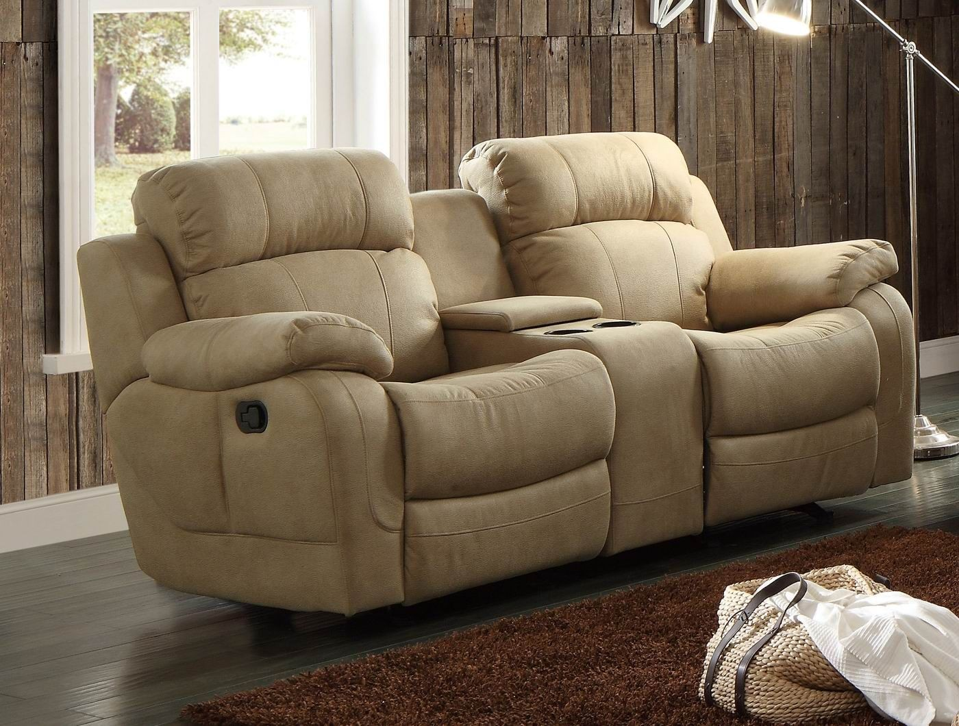 Marille Camel Double Glider Reclining Console Loveseat From Homelegance 9724tpe 2 Coleman