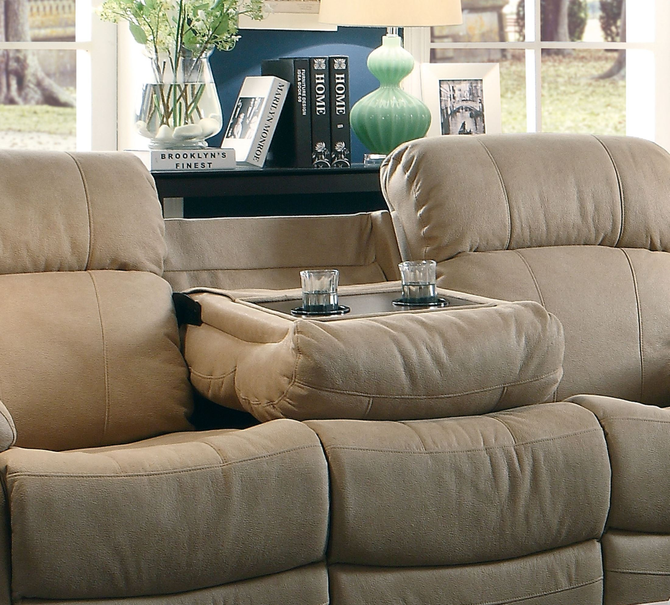 marille camel double reclining sofa with center drop down