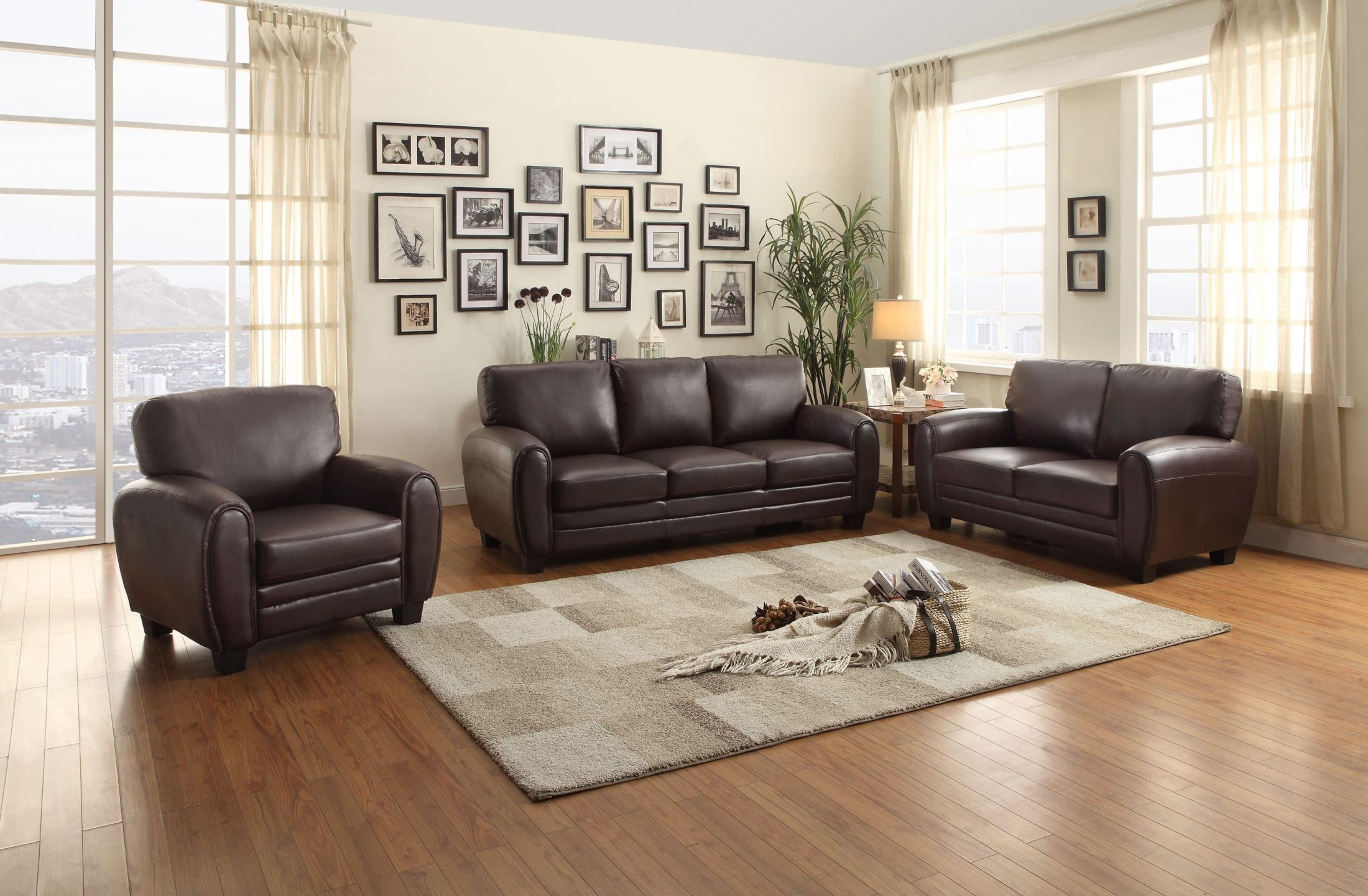 Rubin dark brown living room set from homelegance 9734db for Dark brown living room set