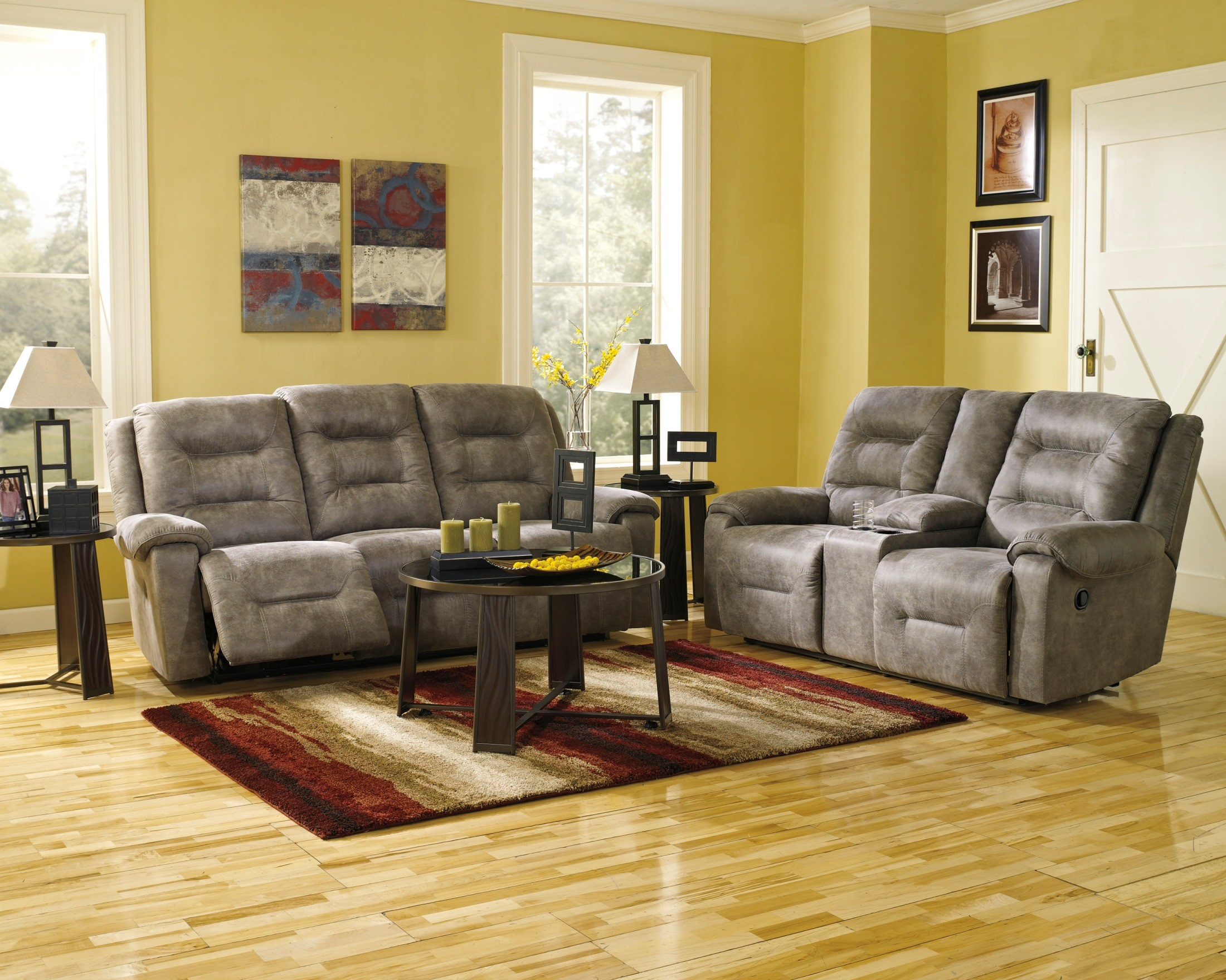Rotation smoke reclining living room set from ashley for Living room 94