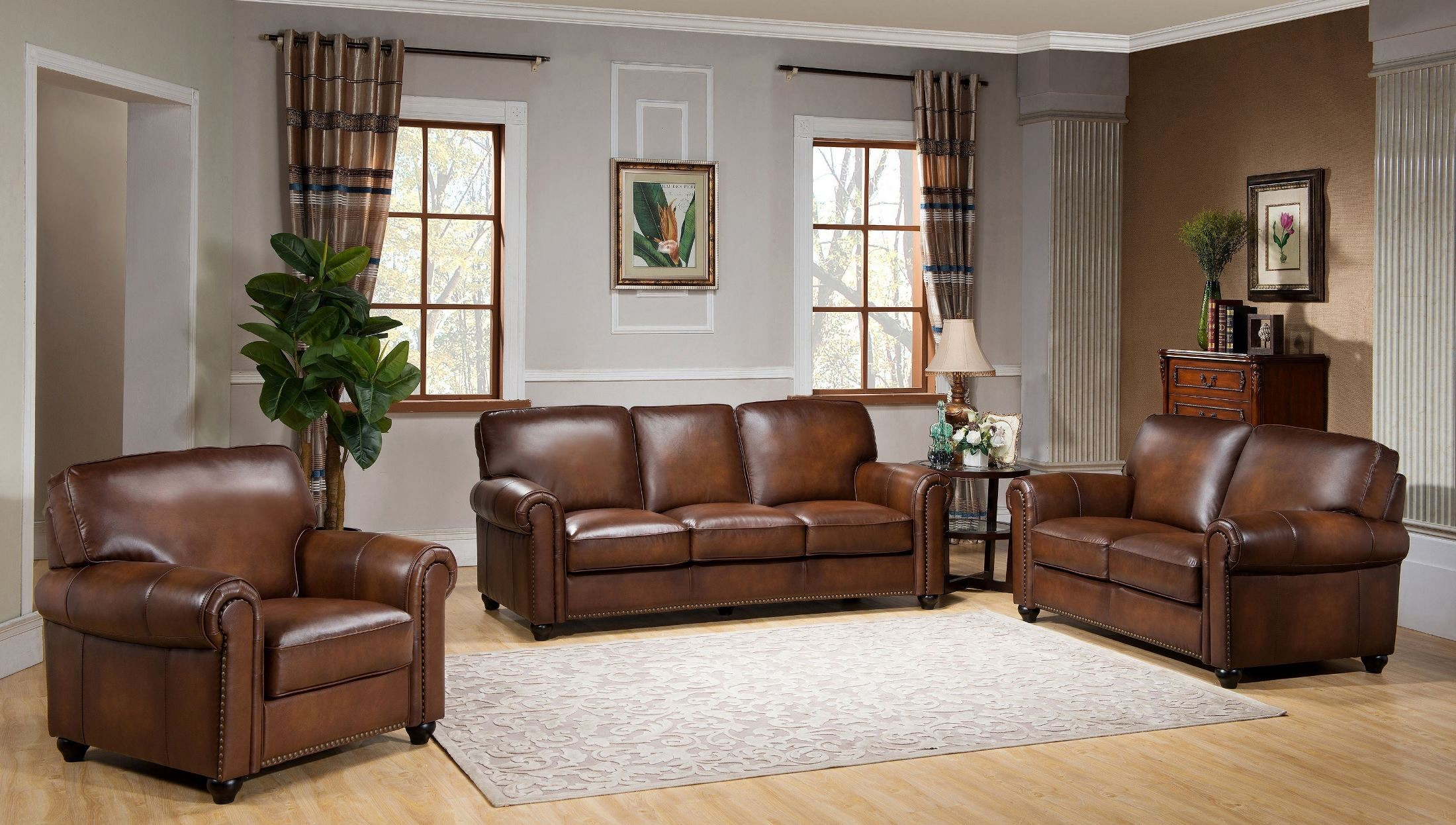 royale camel brown leather living room set c9755s2839ls amax leather. Black Bedroom Furniture Sets. Home Design Ideas