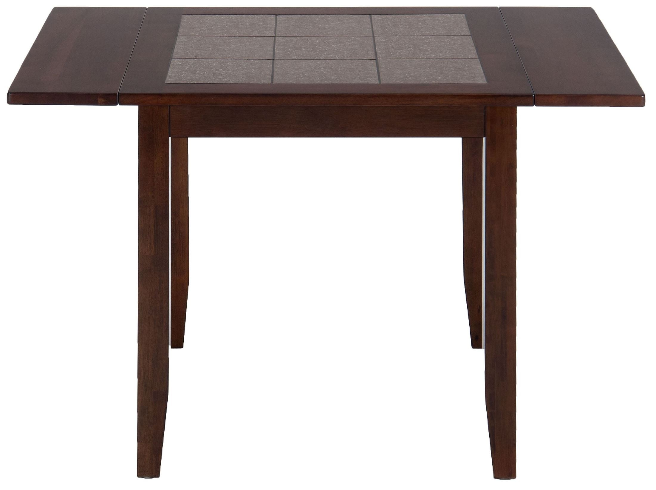 Caleb brown terra tiles drop leaf extendable dining table for Drop leaf dining table