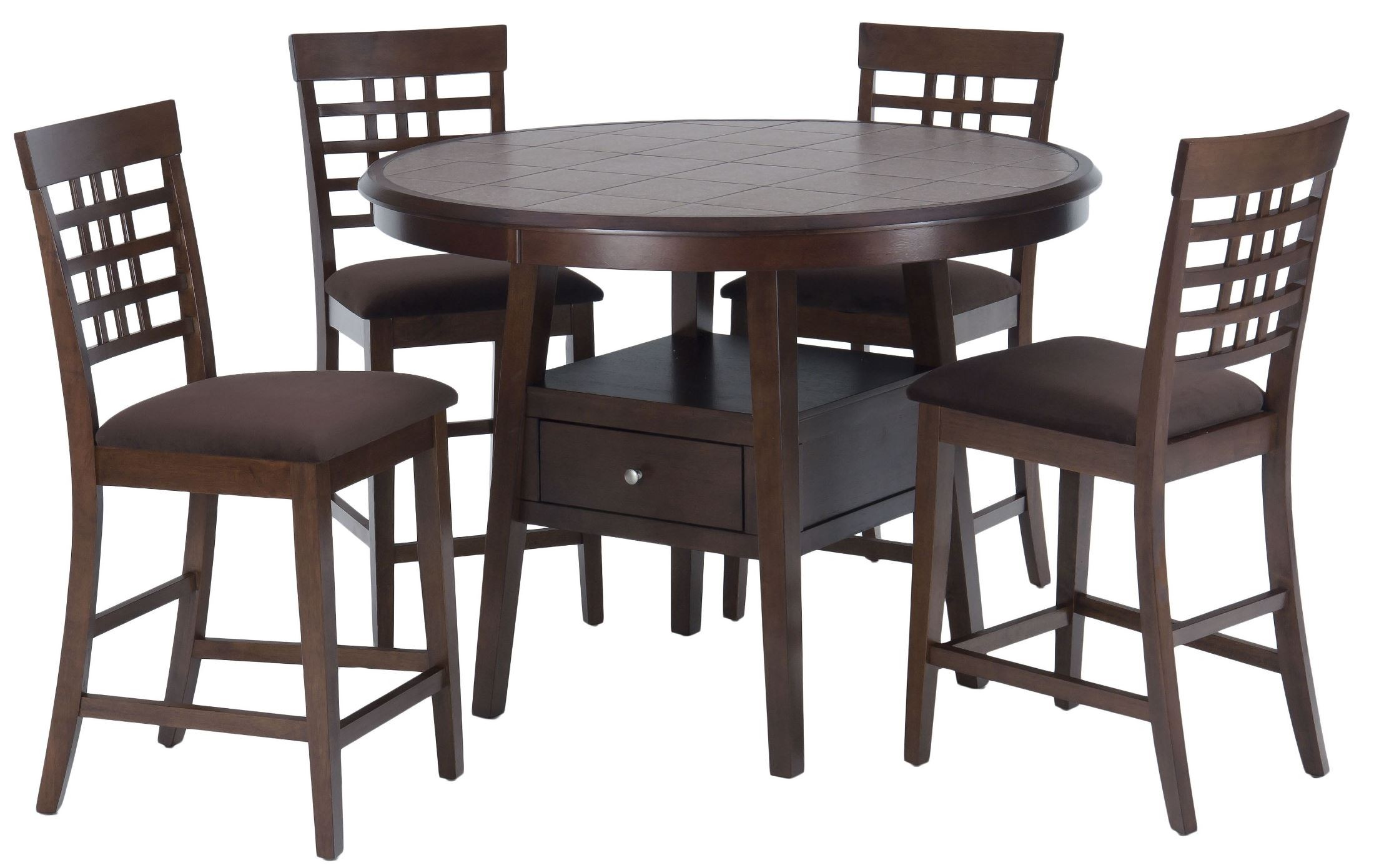 Caleb brown 48 round counter height dining room set 976 for Dining room tables 48 round