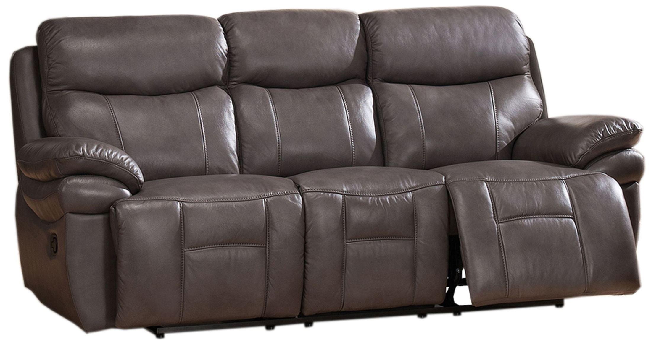 Grey Reclining Sectional Sofa Cortez Premium Top Grain