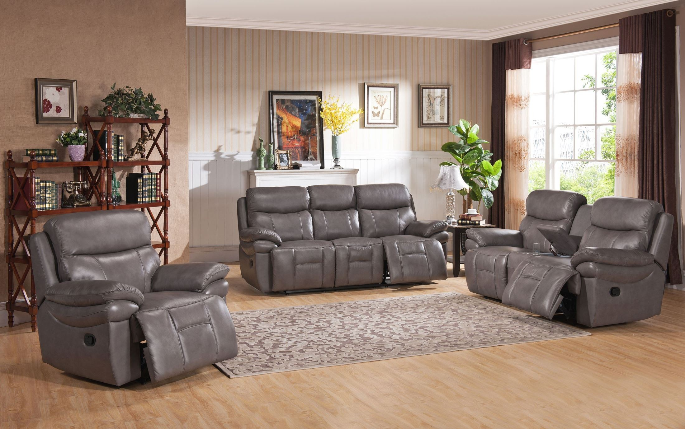 Summerlands smoke grey leather reclining living room set for Cheap reclining living room sets