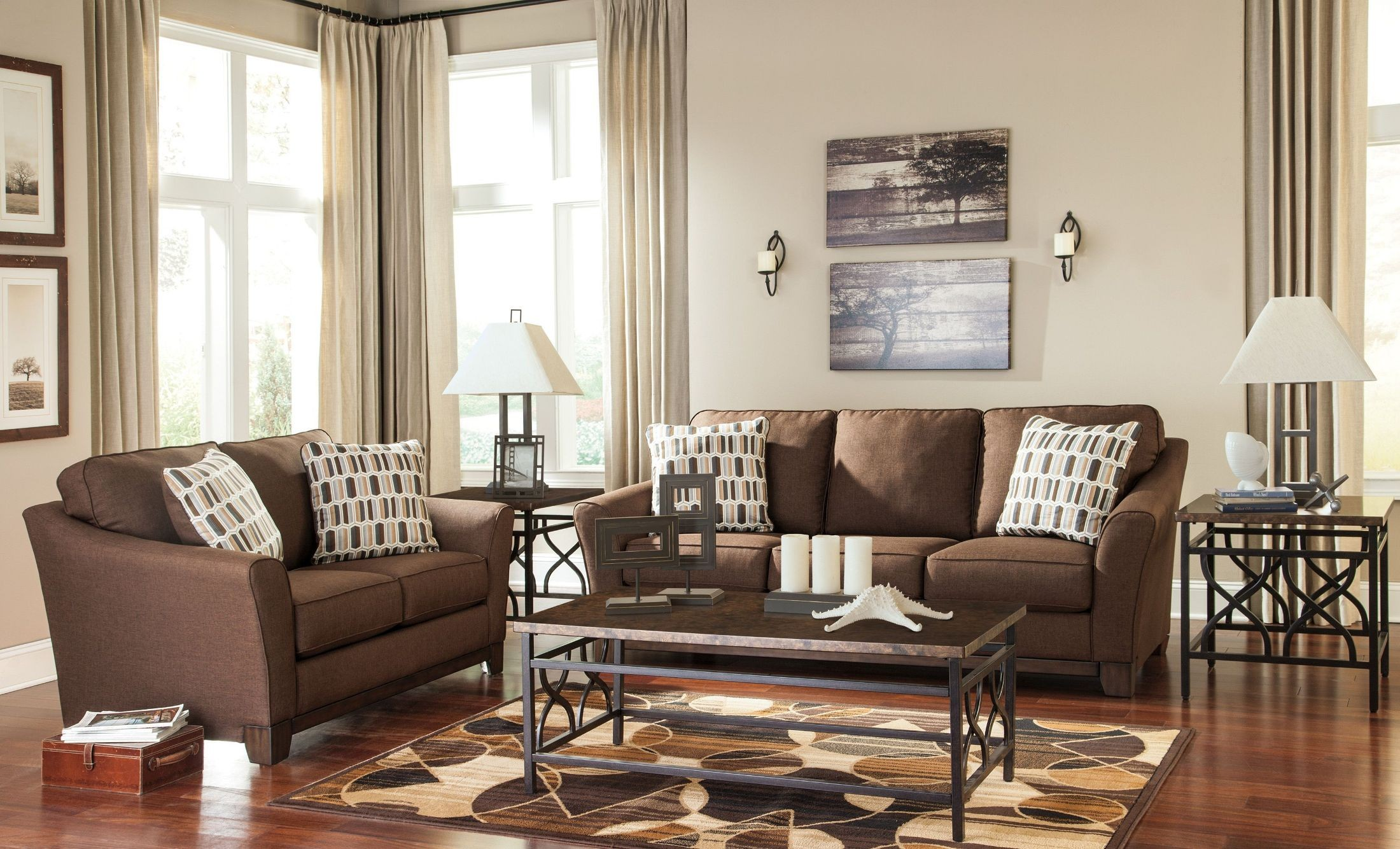 living room furniture living room sets alara chocolate living room