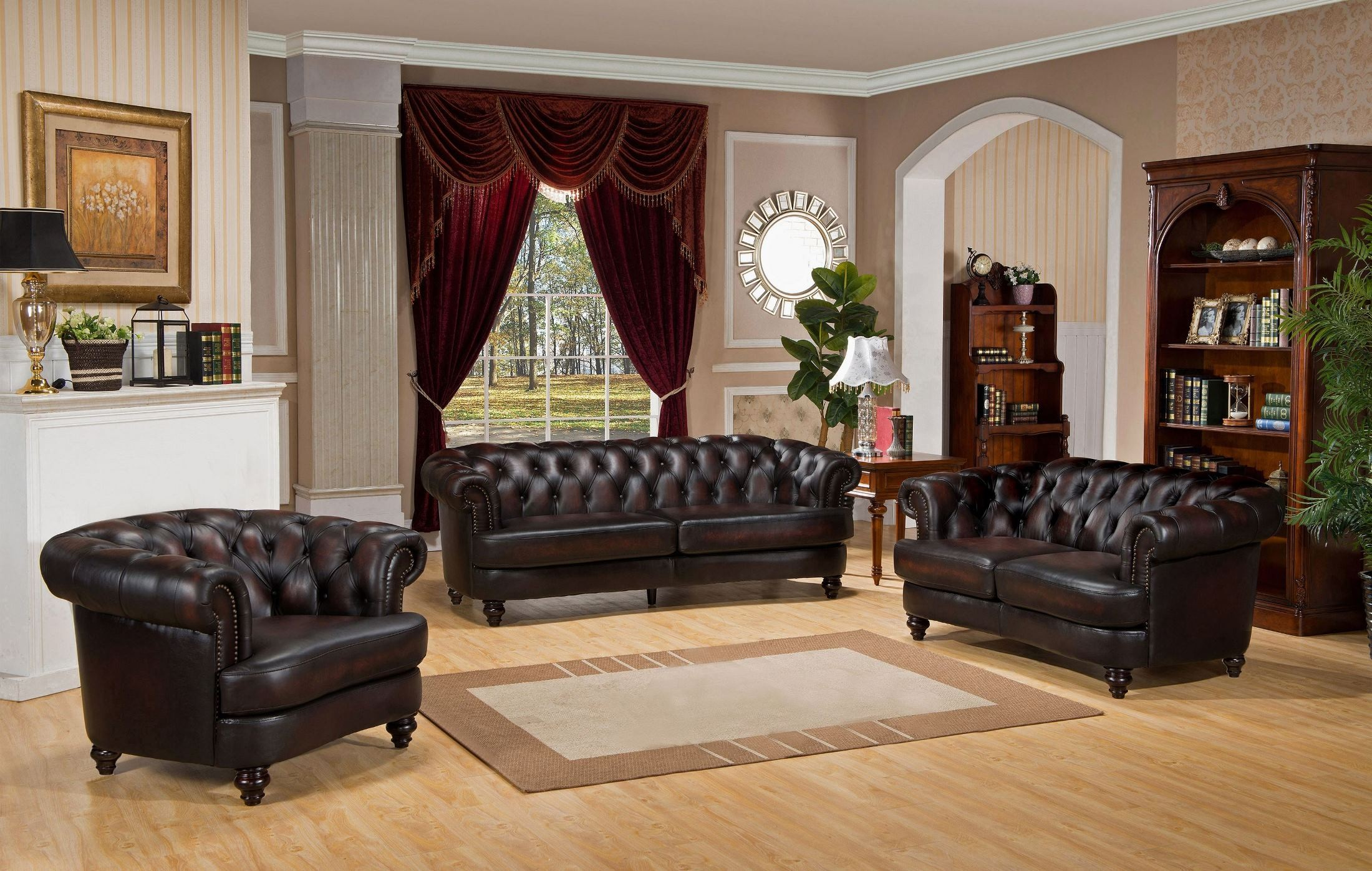Mario brown leather living room set c9816s2889ls amax for Brown leather living room set