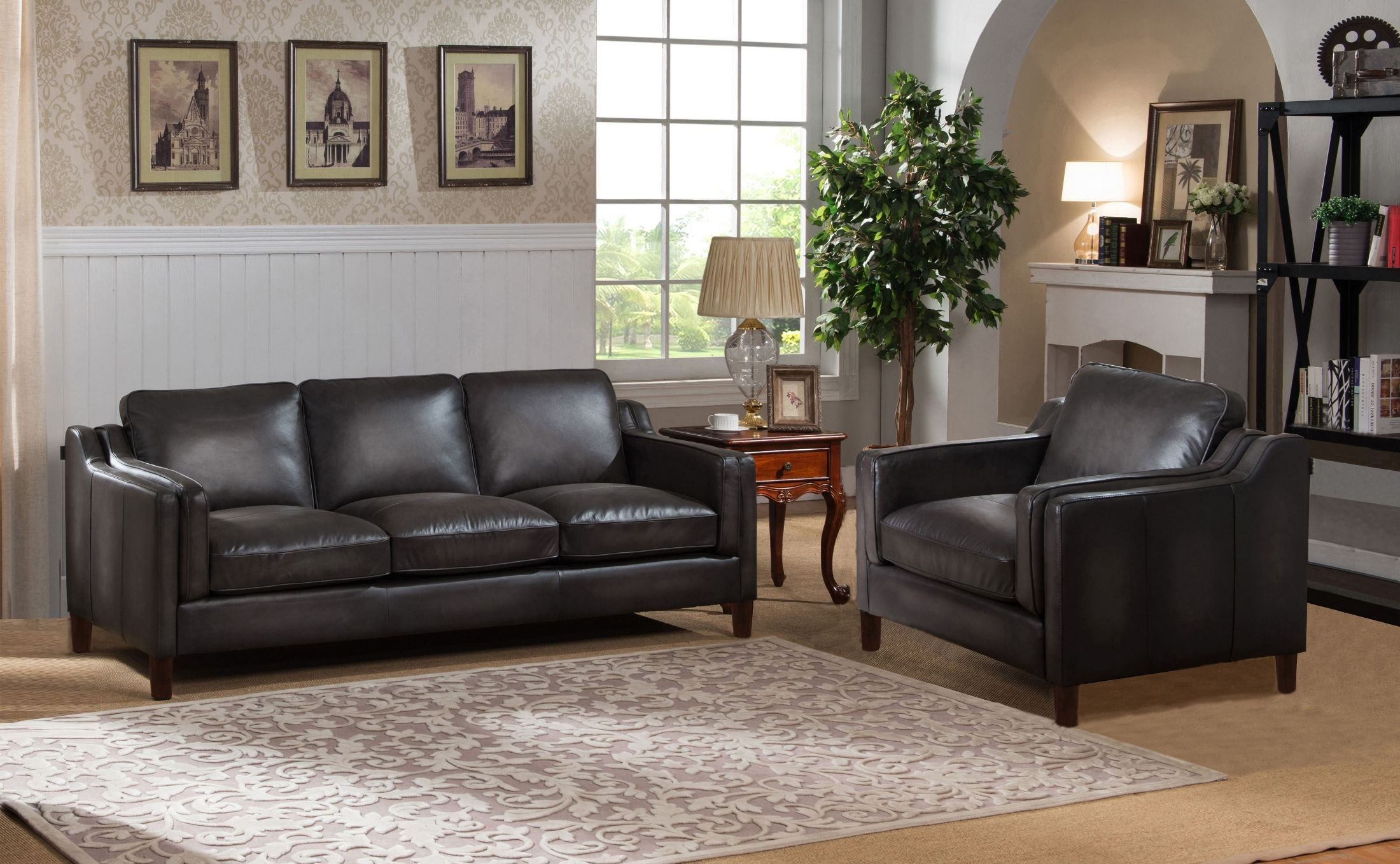 Ballari weathered grey leather living room set for Grey front room furniture