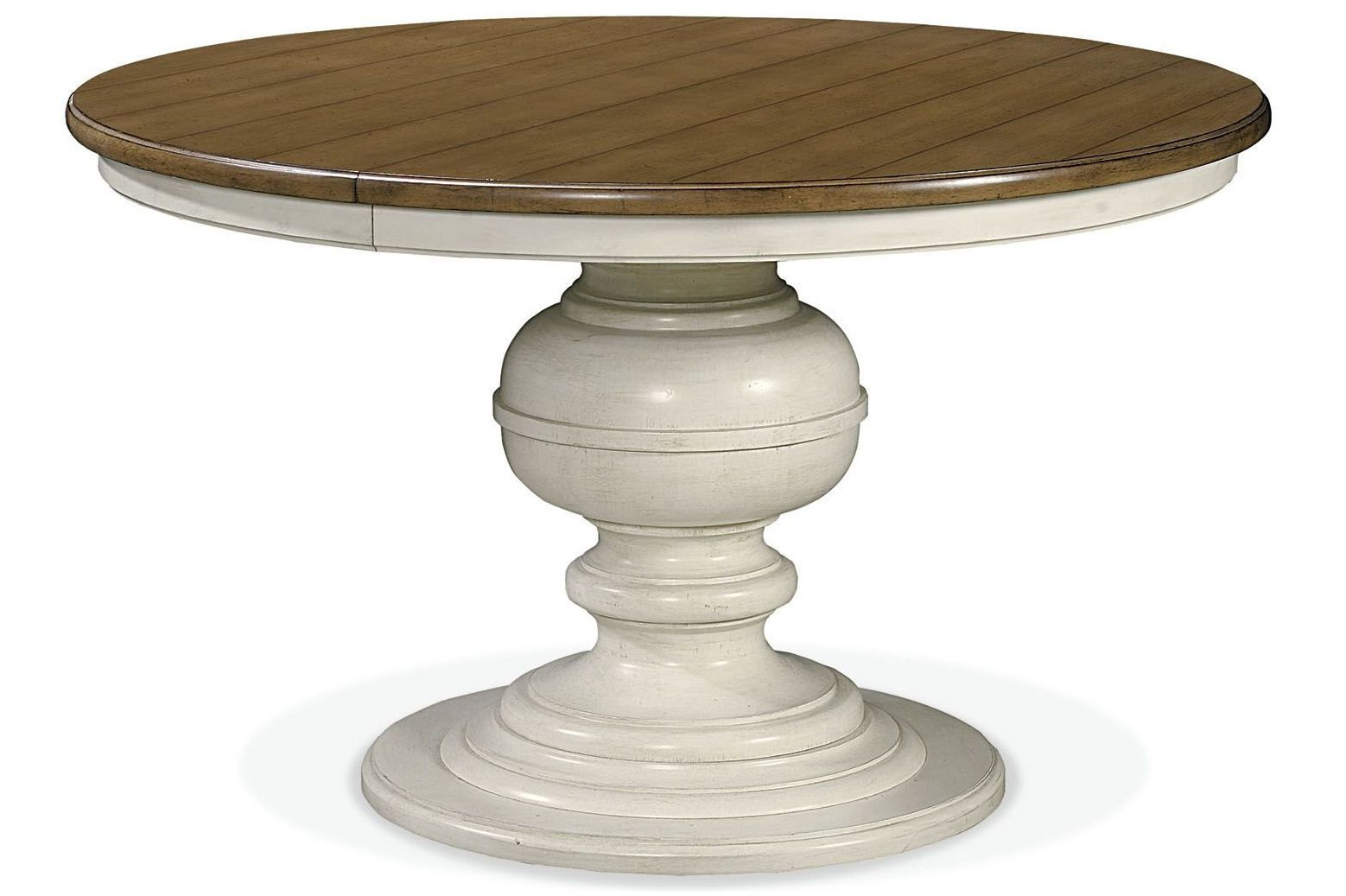 summer hill white single round pedestal extendable dining table from