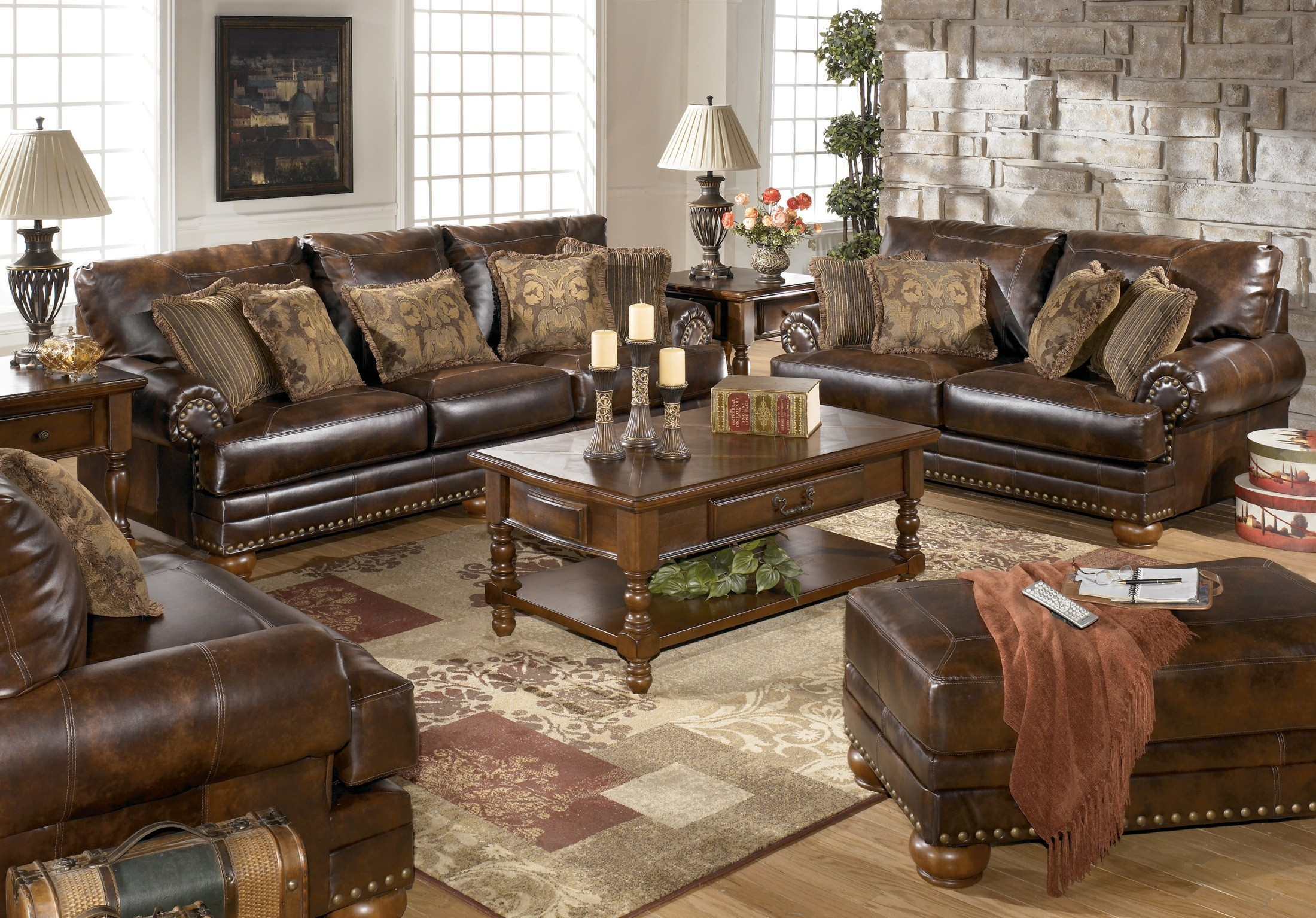 Chaling durablend antique living room set from ashley for Large living room table