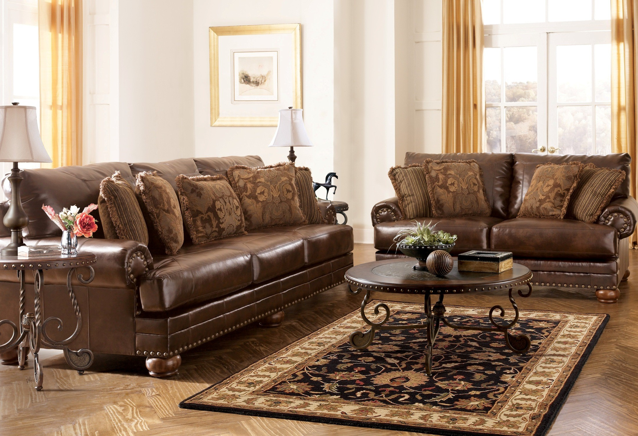 Chaling durablend antique living room set from ashley for Durable living room furniture