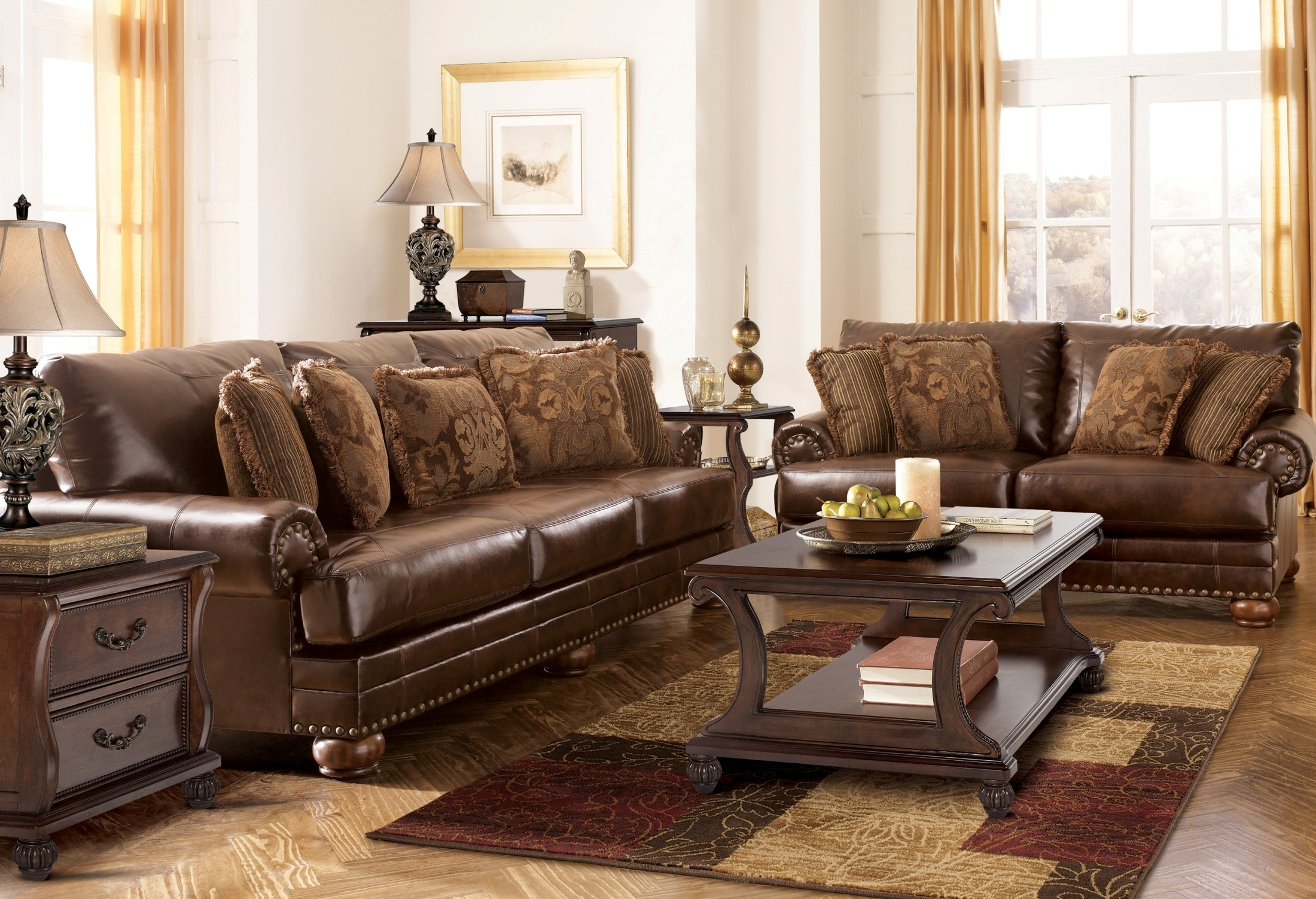 Chaling durablend antique living room set from ashley - Antique living room furniture sets ...