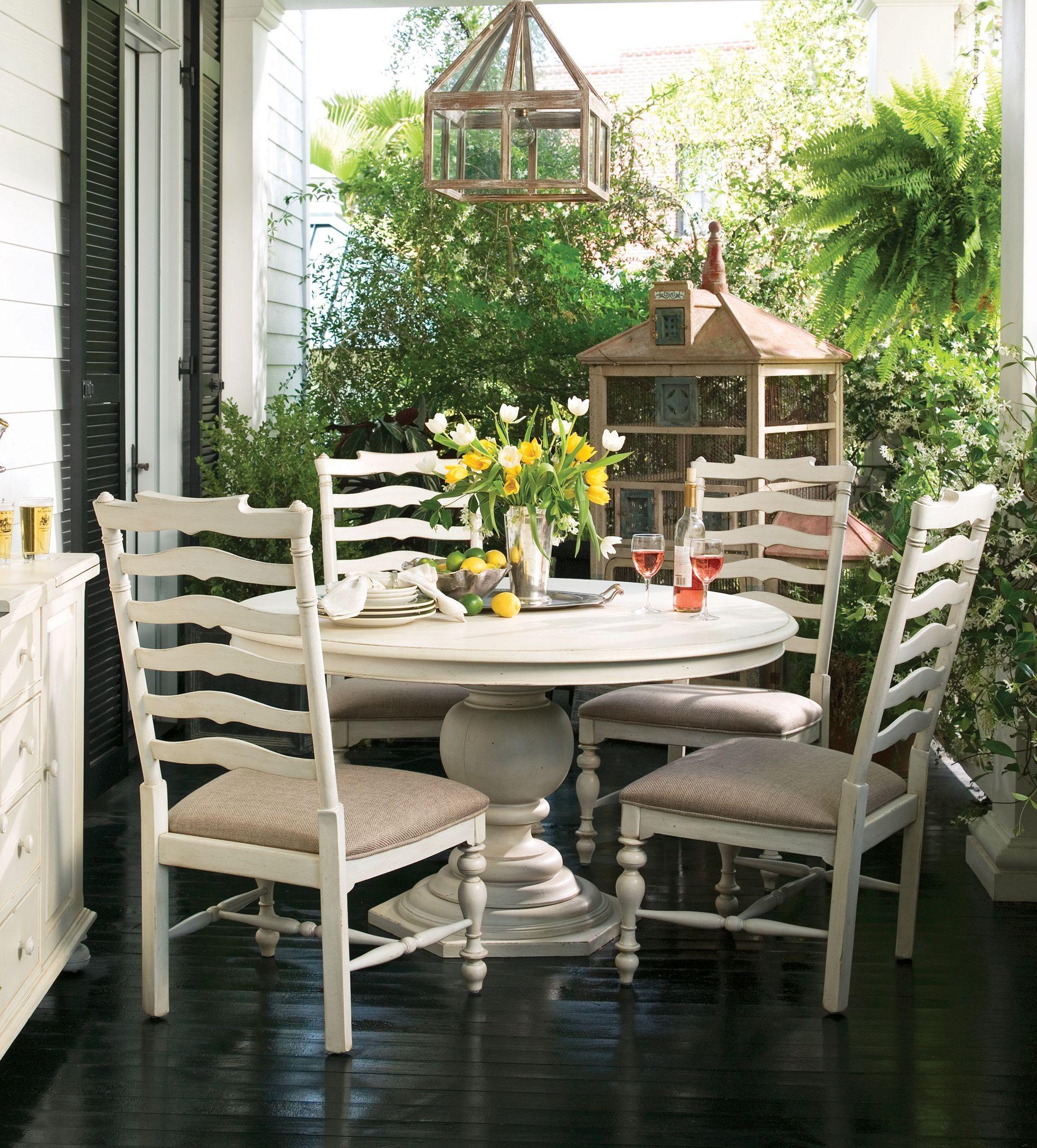Paula Deen Home Linen Round Pedestal Extendable Dining Room Set From Paula De
