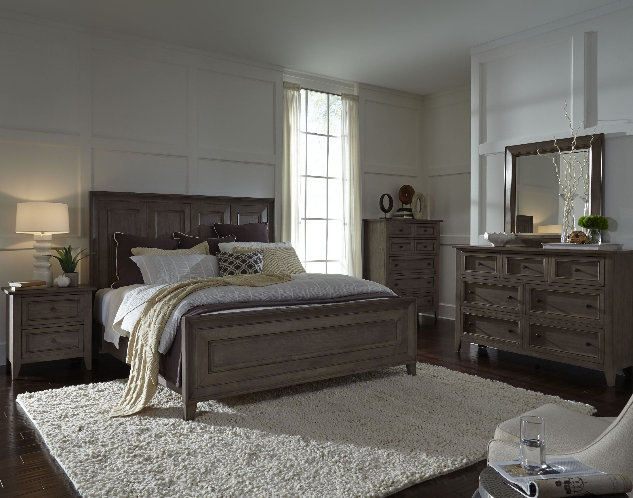 Talbot Driftwood Complete Panel Bedroom Set B3744 54H 54F 54R Magnussen Home