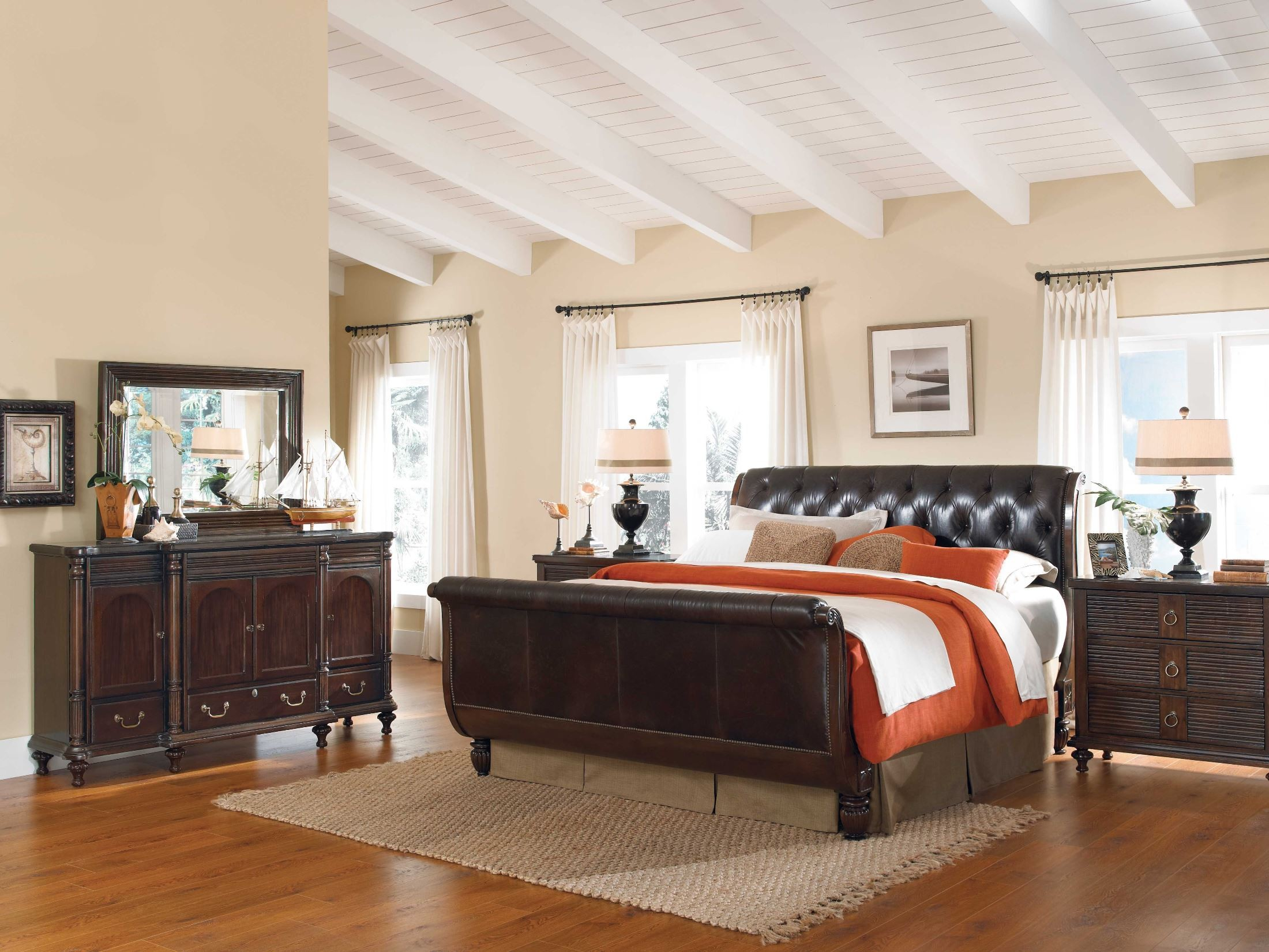 Moonlight Bay Antigua Leather Sleigh Bedroom Set 65 150P Kincaid Furniture