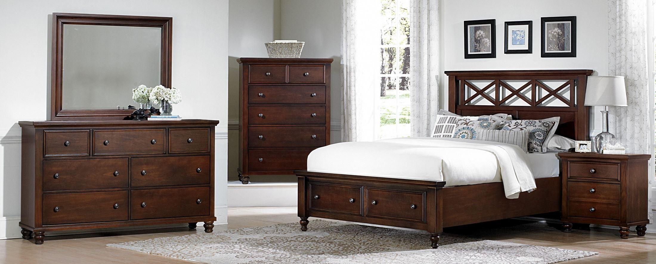 Ellington cherry garden storage bedroom set from vaughan for Ellington bedroom set