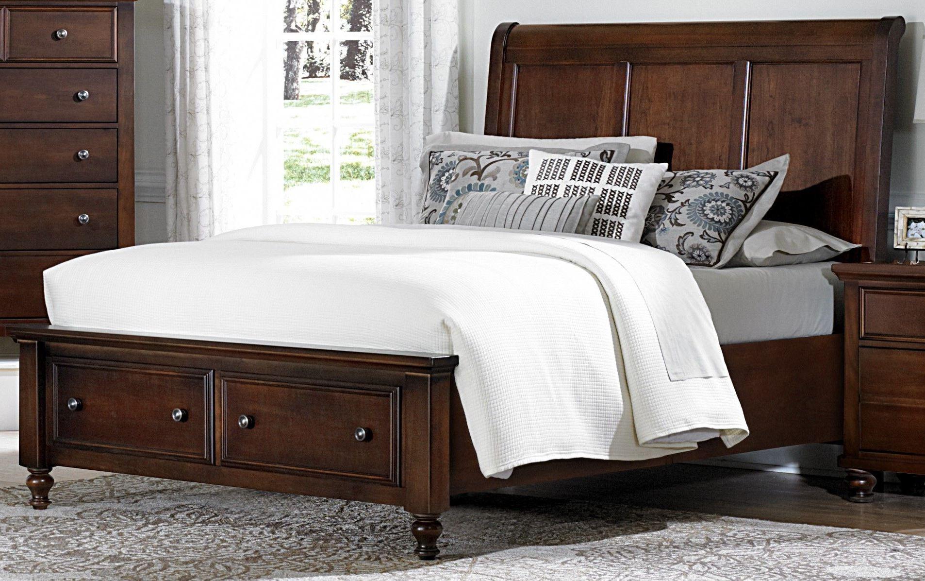 Ellington cherry king sleigh storage bed from vaughan for Ellington bedroom set