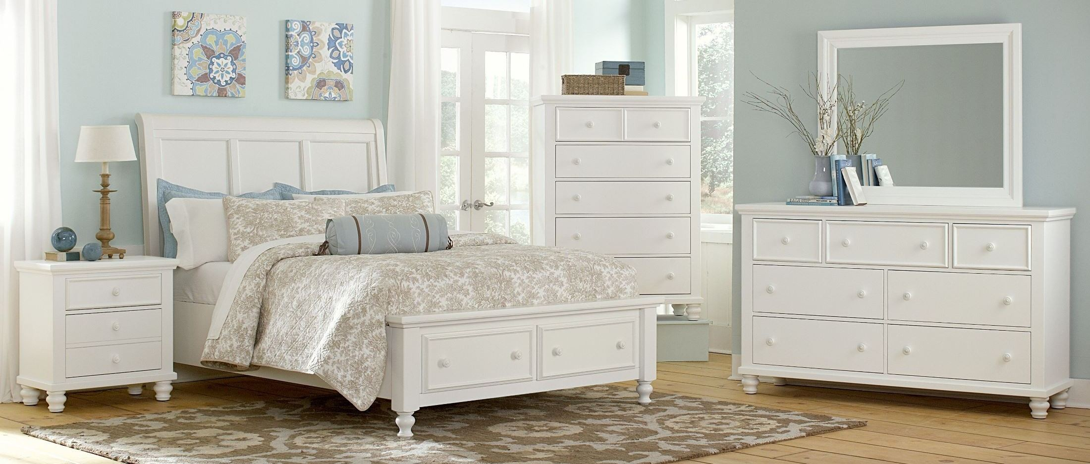 Ellington white sleigh storage bedroom set from vaughan for White bedroom set with storage