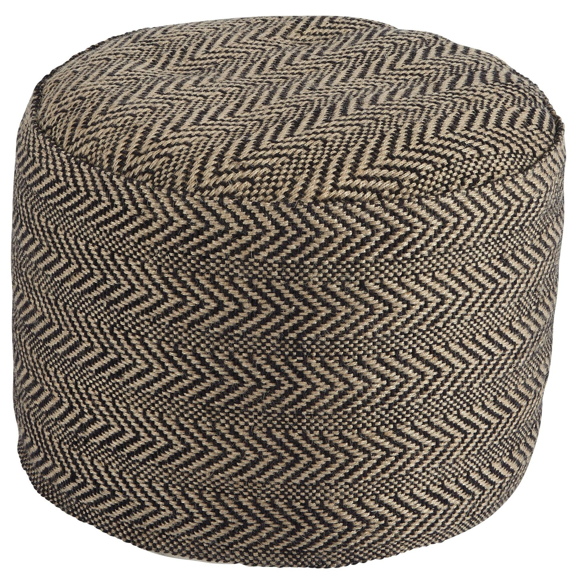 Chevron Natural Pouf from Ashley A