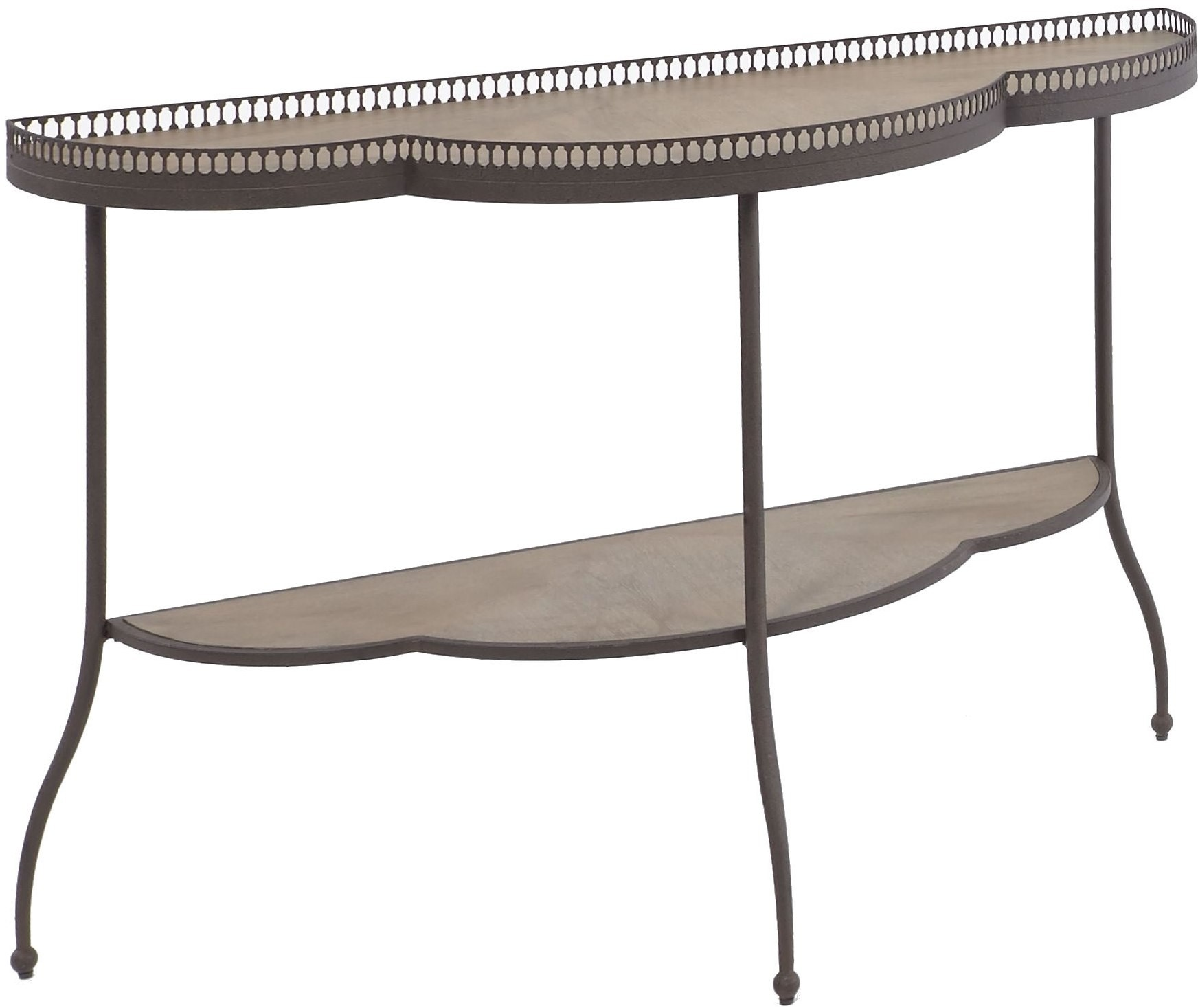 Clementine distressed armor gray and bisque scalloped sofa for Sofa table 70