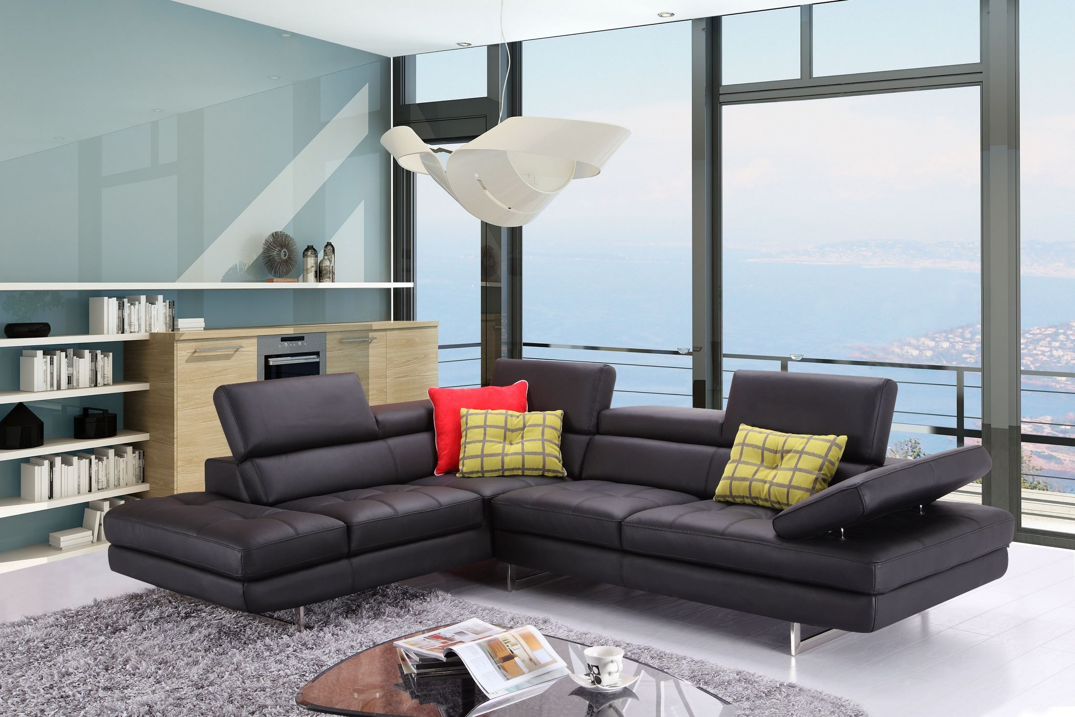 modern white leather sectional with adjustable back cushions