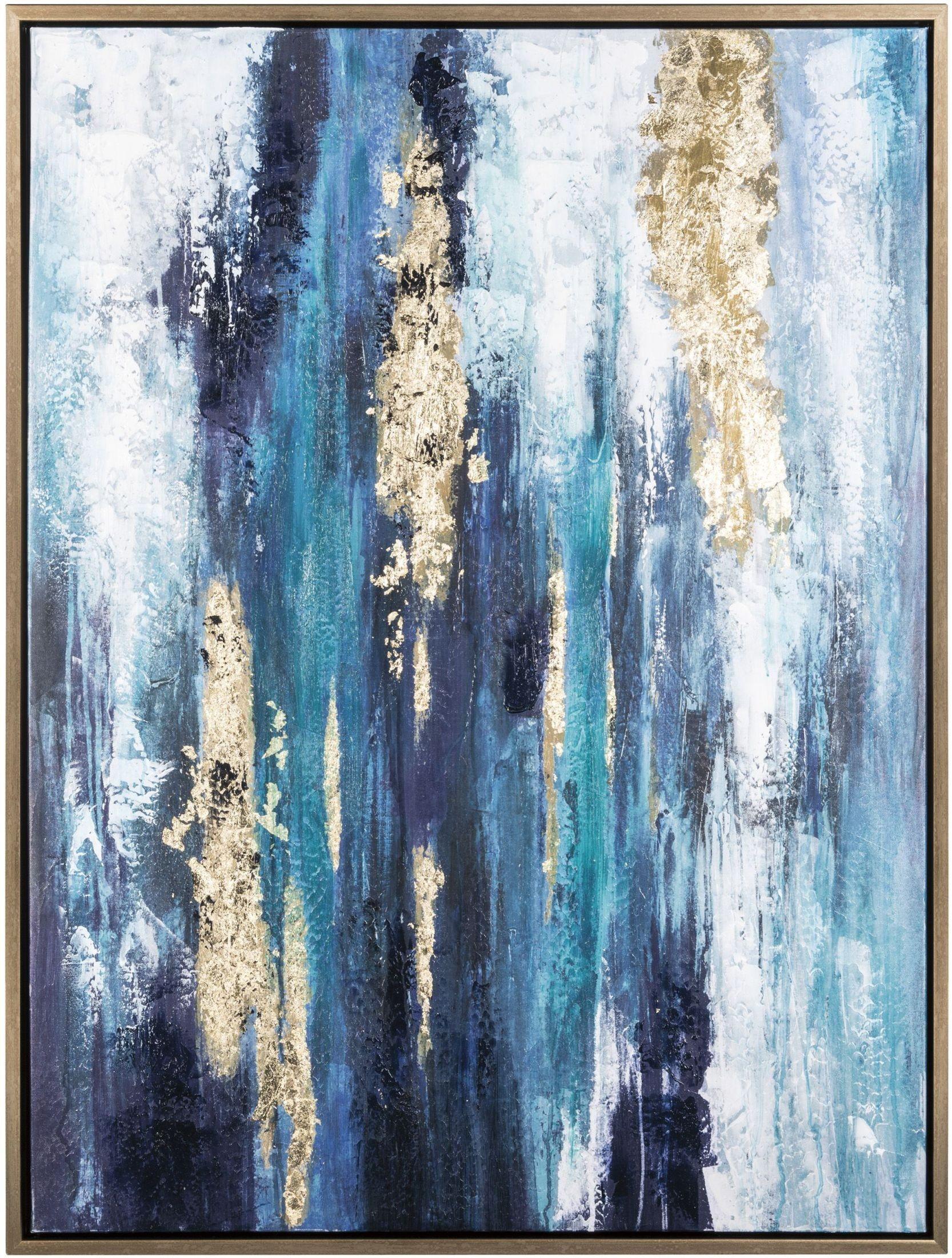 Dinorah teal blue wall art a8000218 ashley for Blue wall art