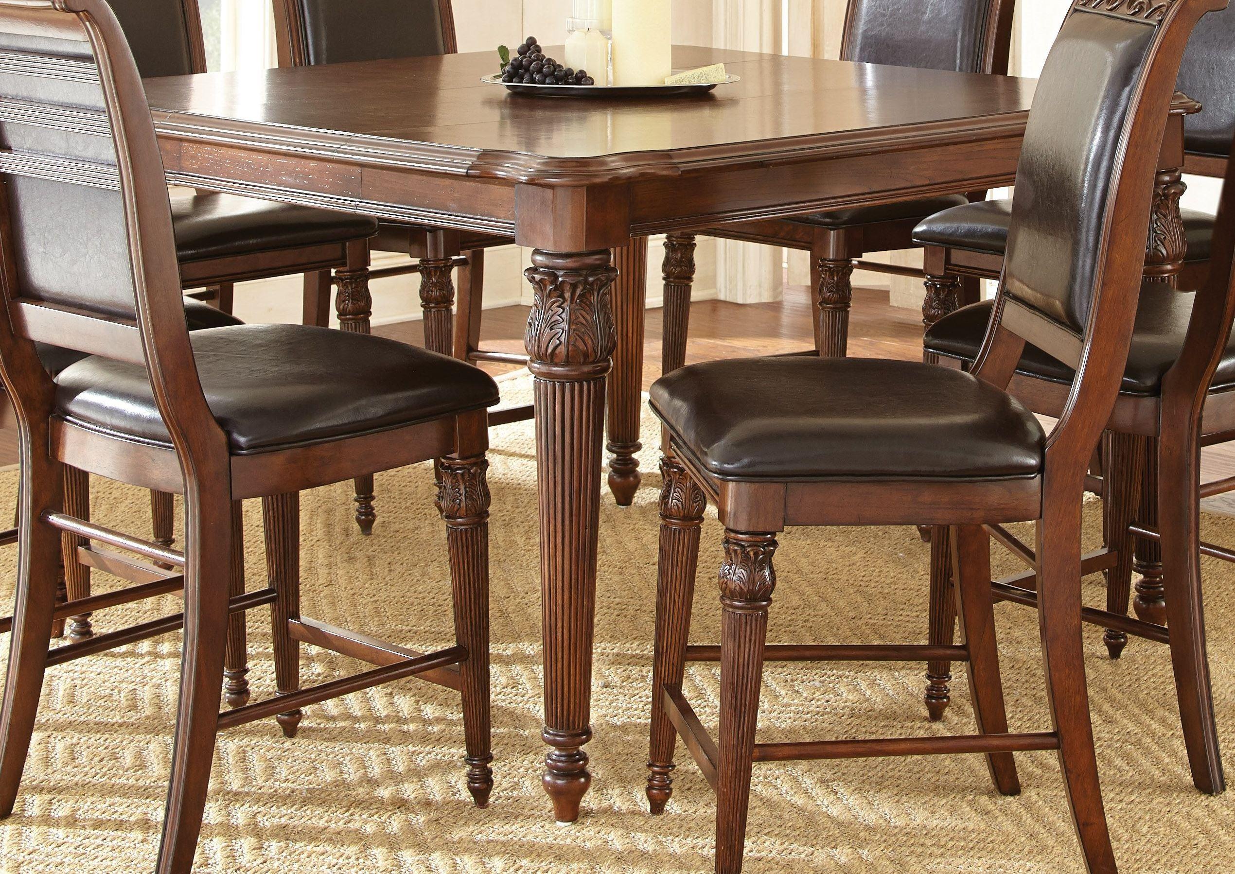 Alberta medium cherry extendable square counter height for Counter height extendable dining table