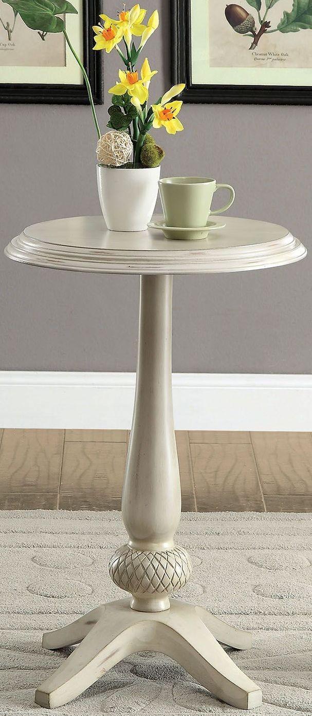 saira antique white round accent table cm ac6441wh furniture of america. Black Bedroom Furniture Sets. Home Design Ideas