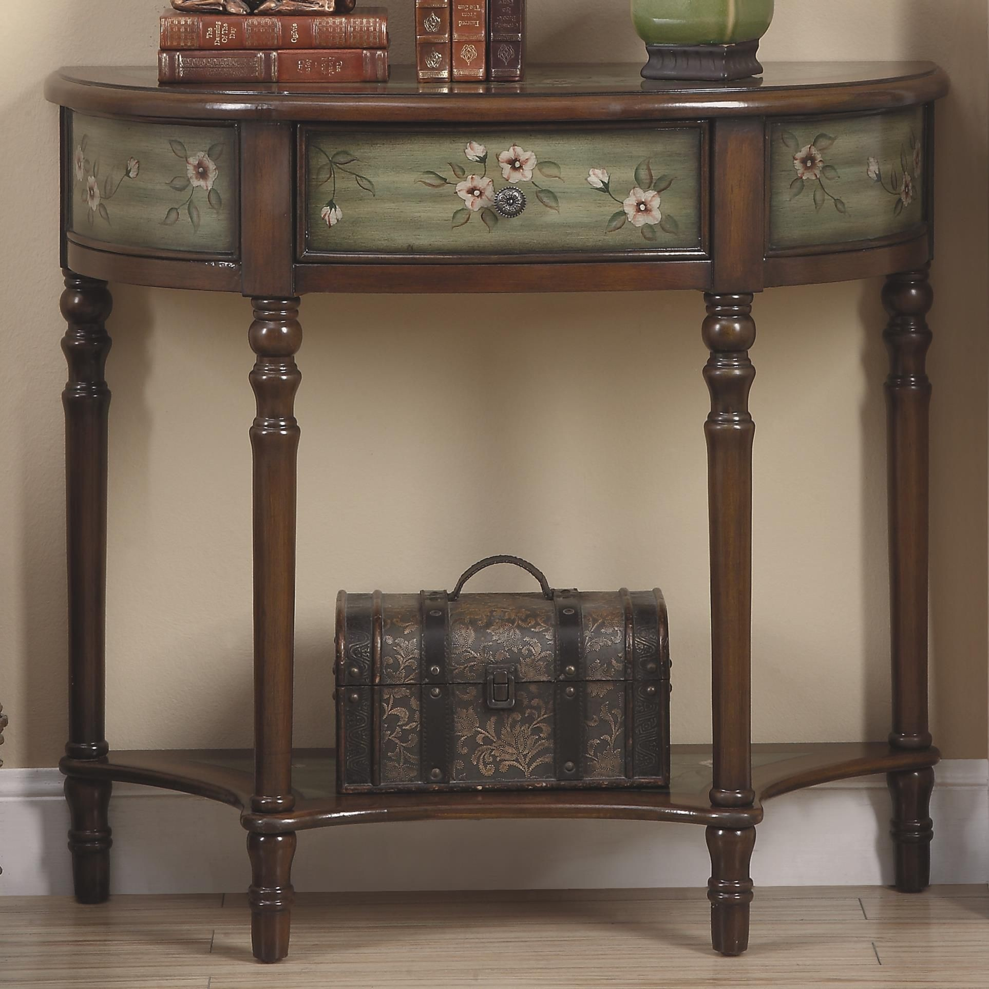 950034 antique green painted door console table from coaster 950034 coleman furniture - Sofa table with cabinets ...