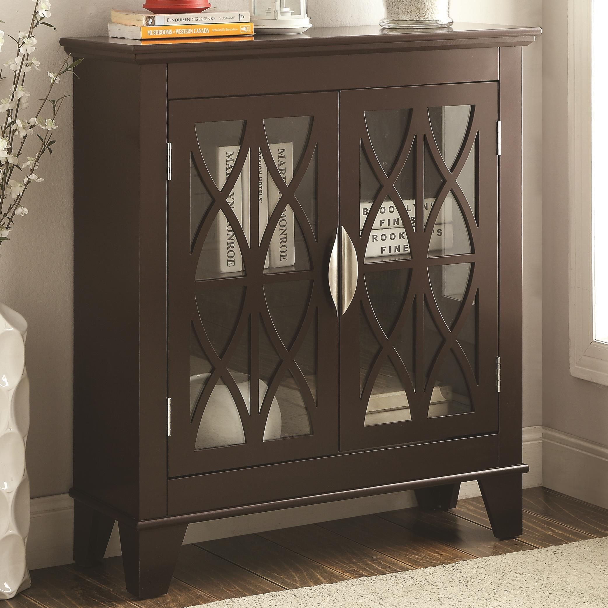 Living Room Cabinets With Glass Doors 950311 Glass Doors Cappuccino Accent Cabinet From Coaster 950311