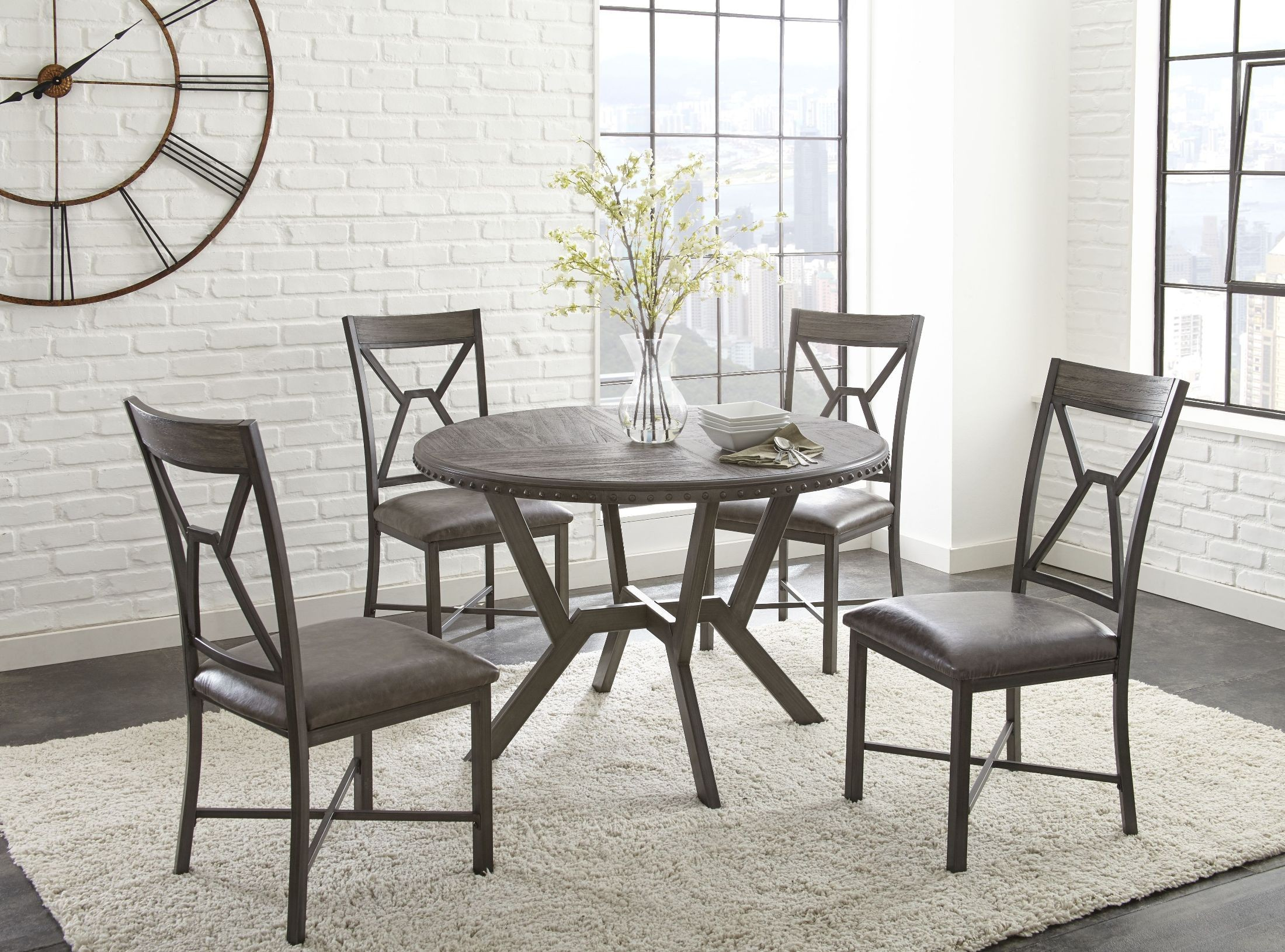 Alamo gray round dining room set al450t steve silver for Round dining room sets