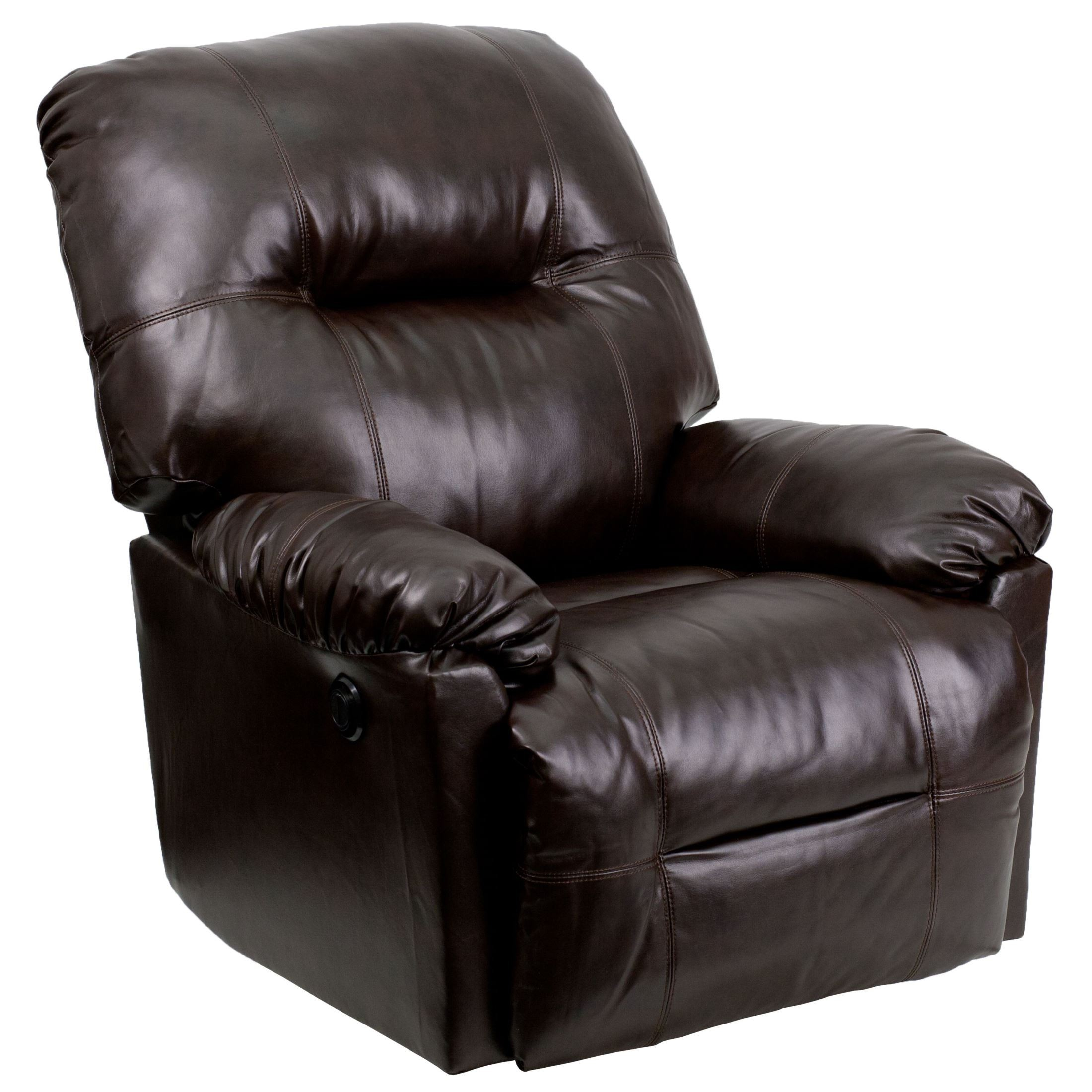 Bentley brown leather chaise power recliner from renegade for Brown leather lounge with chaise