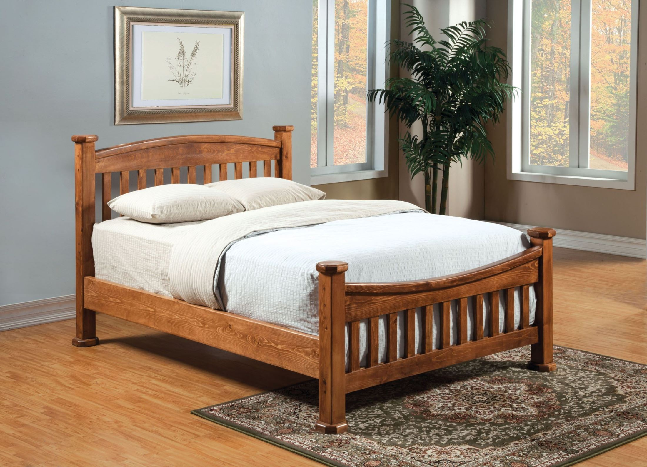 Buffalo rustic oak twin headboard from furniture of for Mission style bed frame plans