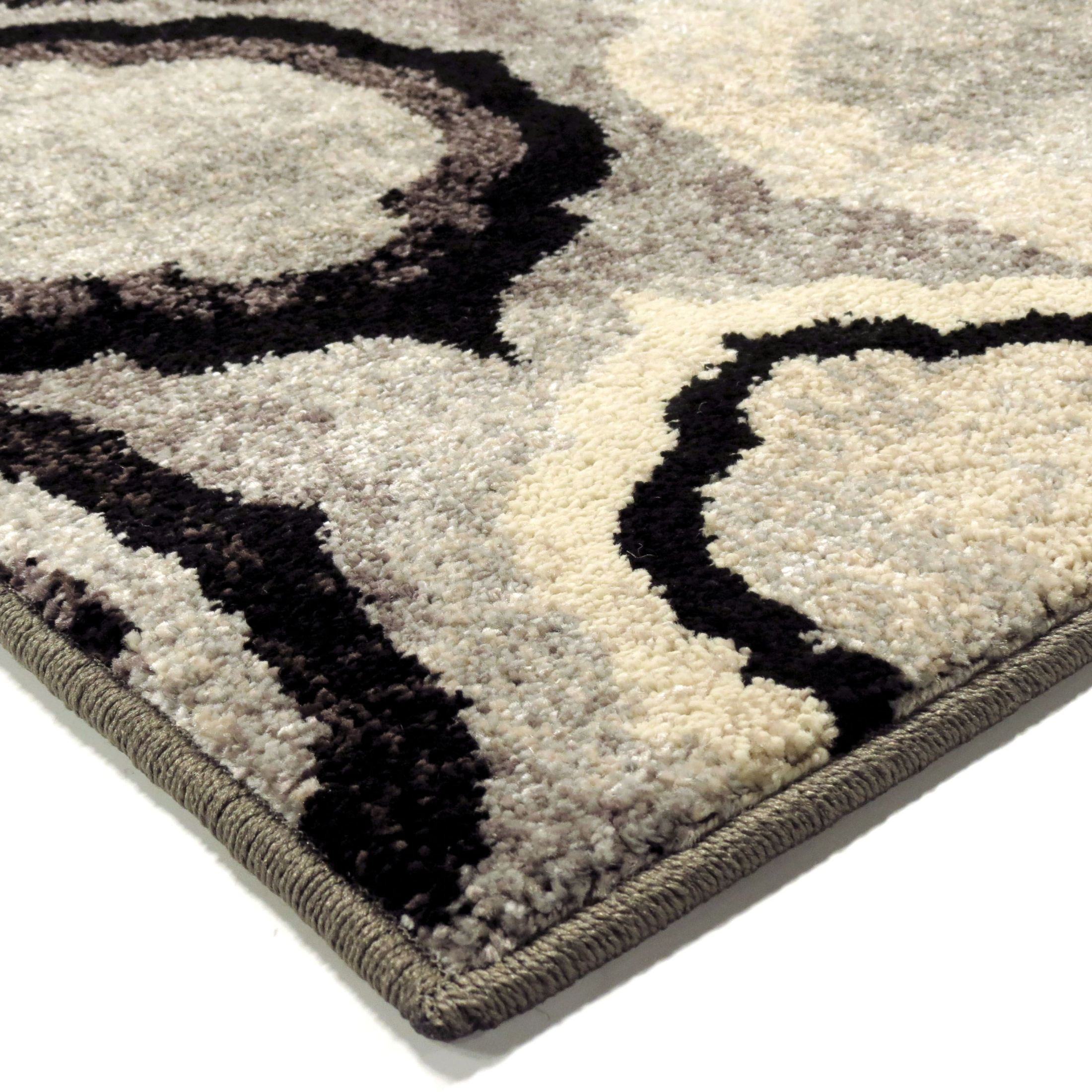 Gray Area Rug 8x11: Orian Rugs Plush Pile Circles Pannel Gray Area Large Rug