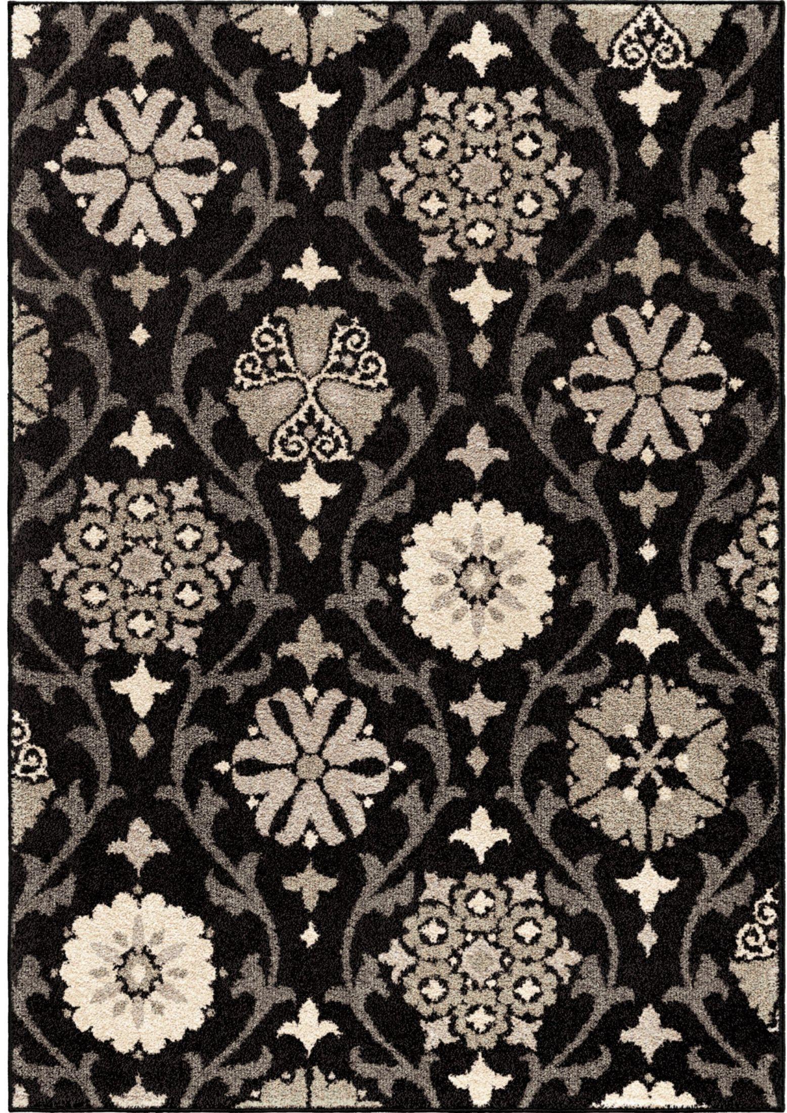 orian rugs floral floral chico black area large rug 4304. Black Bedroom Furniture Sets. Home Design Ideas