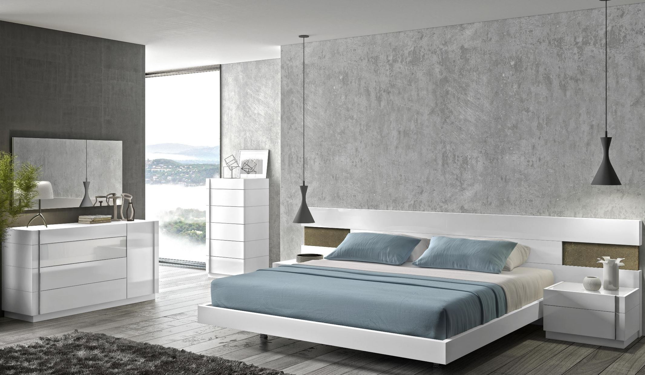 amora white lacquer platform bedroom set from j m