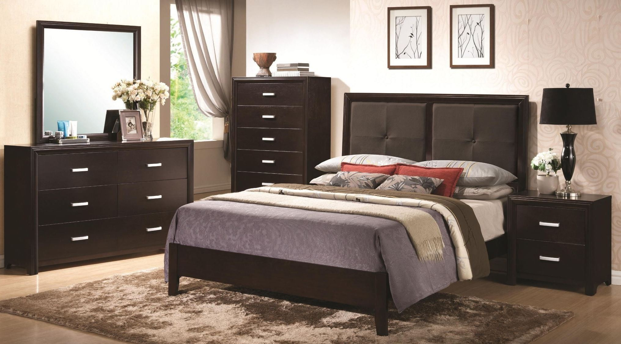 Andreas cappuccino padded platform bedroom set from Andreas furniture