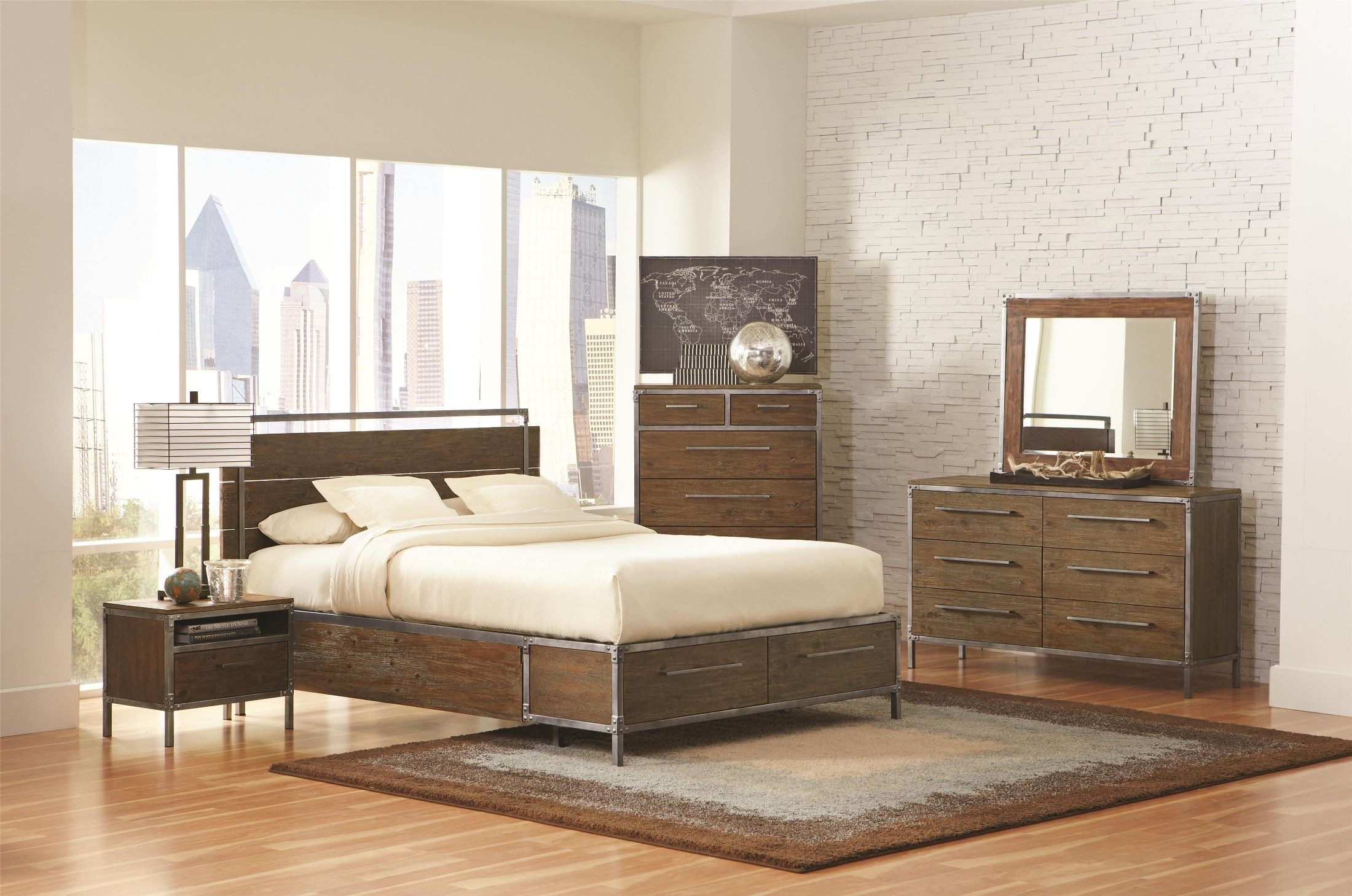 Arcadia weathered acacia platform storage bedroom set from coaster 203801q coleman furniture for Bedroom furniture washington dc