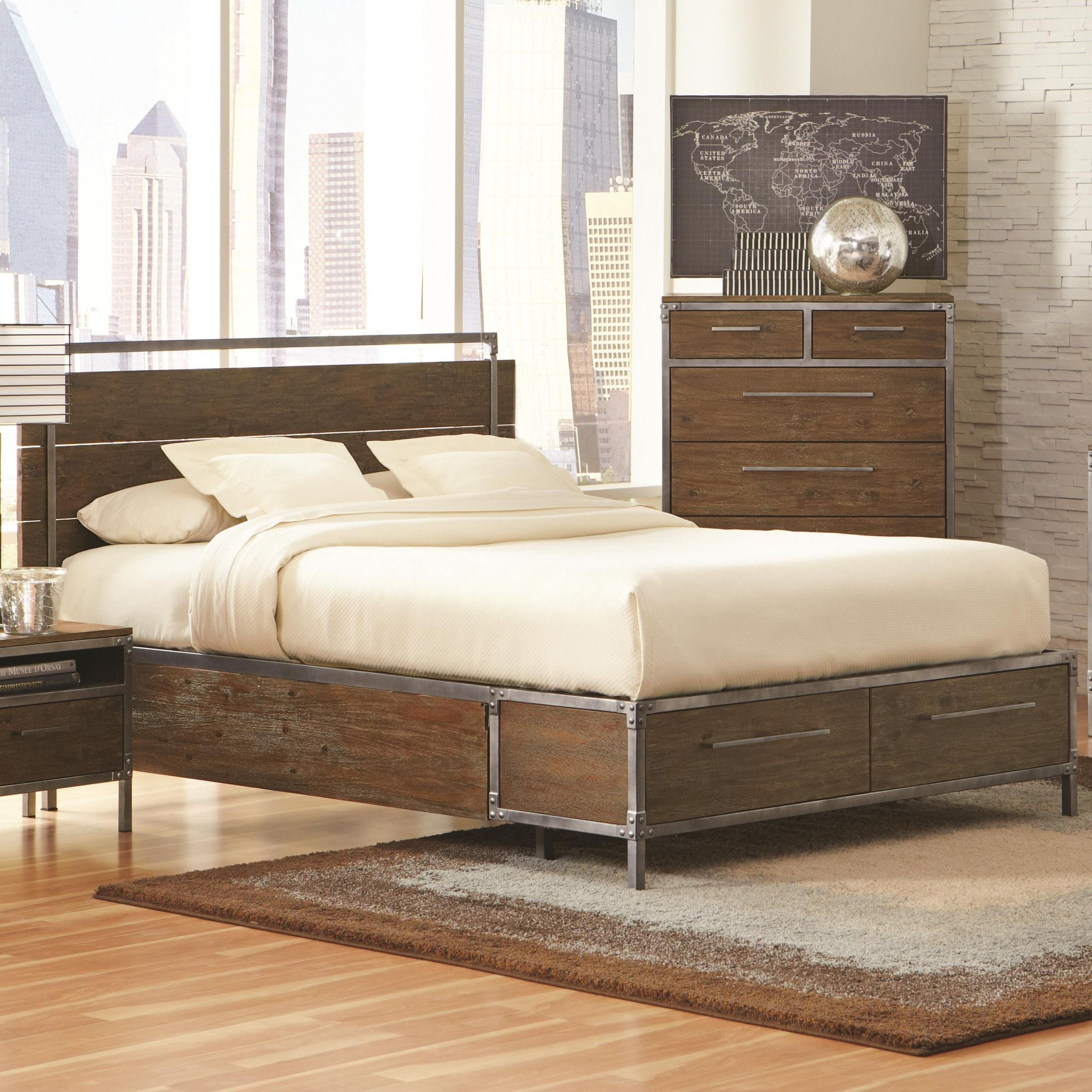 Arcadia Weathered Acacia Platform Storage Bedroom Set From Coaster