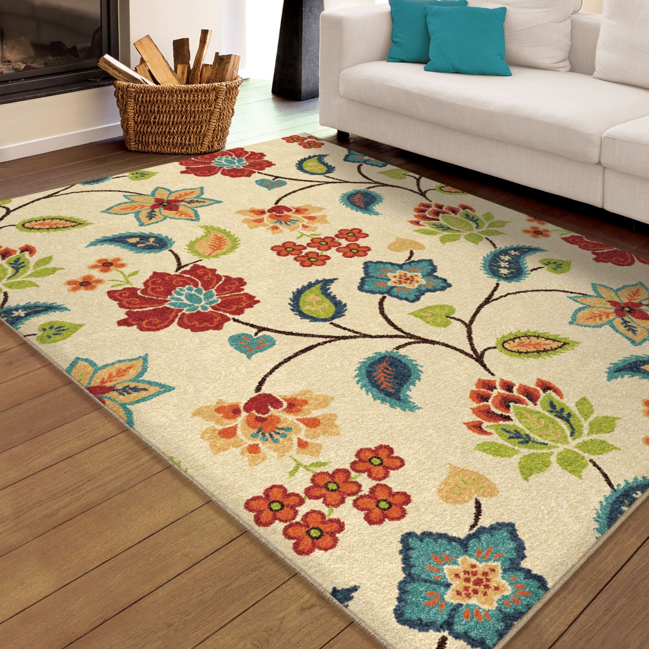 Orian rugs indoor outdoor floral full bloom ivory area for Bright floral area rugs