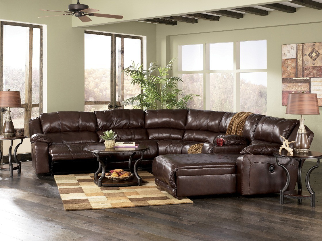 Braxton java large right arm facing sectional sofa from for 2 arm pressback chaise
