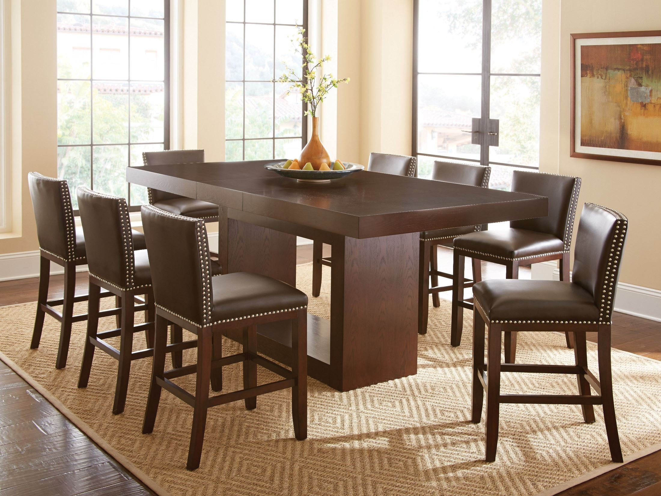 antonio extendable rectangular counter height dining table from steve