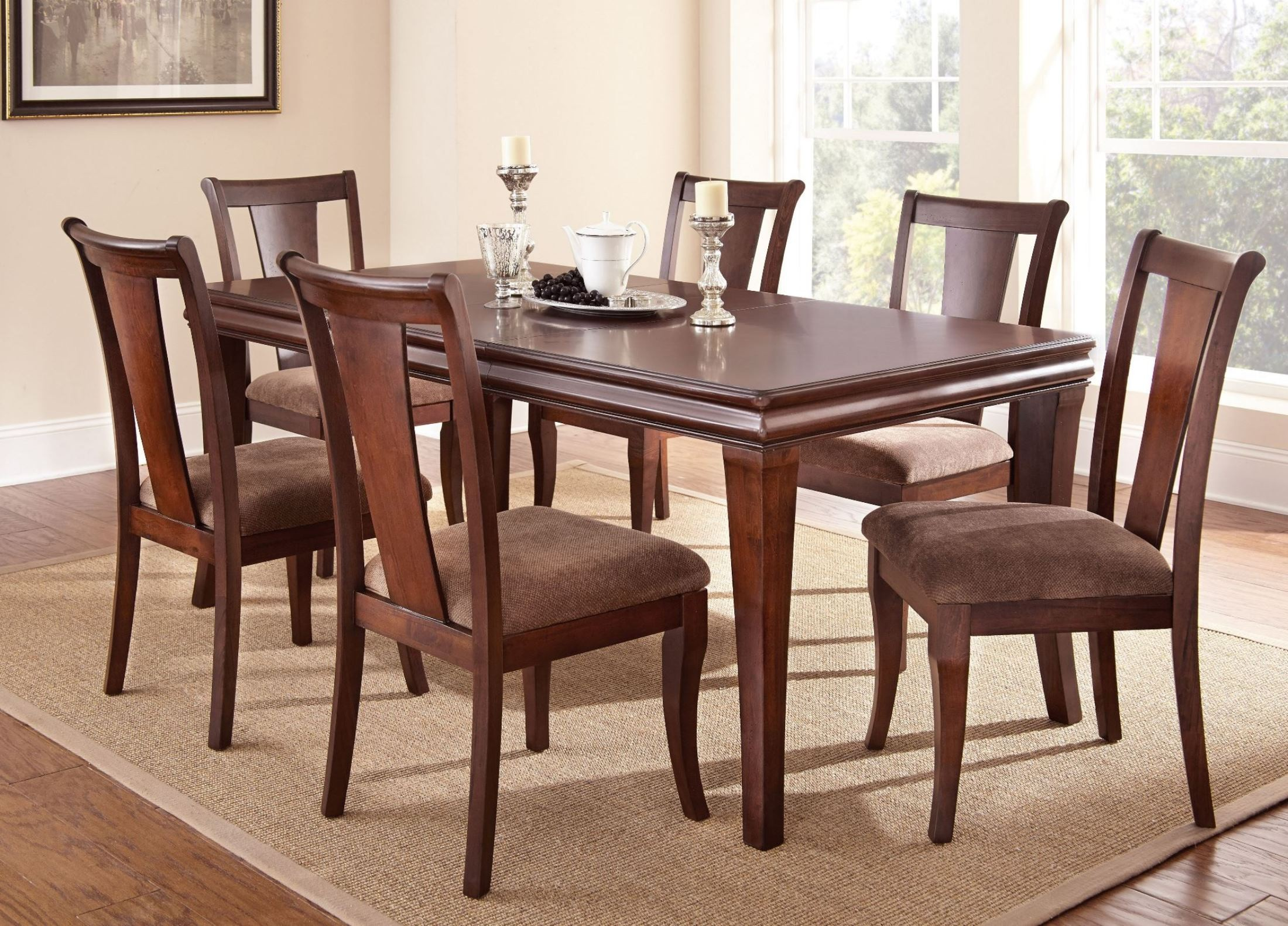 aubrey medium brown extendable rectangular dining room set