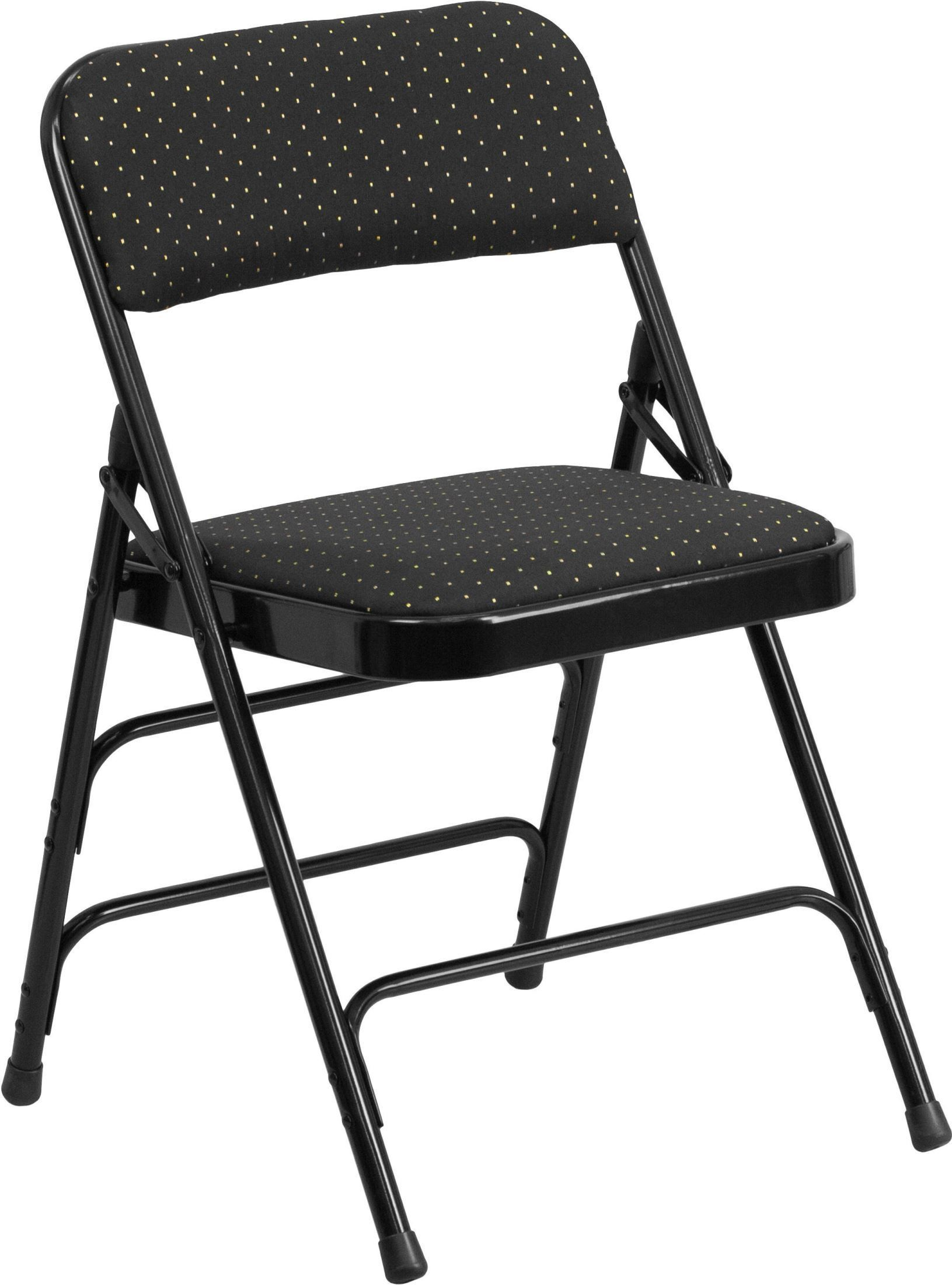 HERCULES Series Curved Triple Braced Black Patterned Metal Folding Chair AW