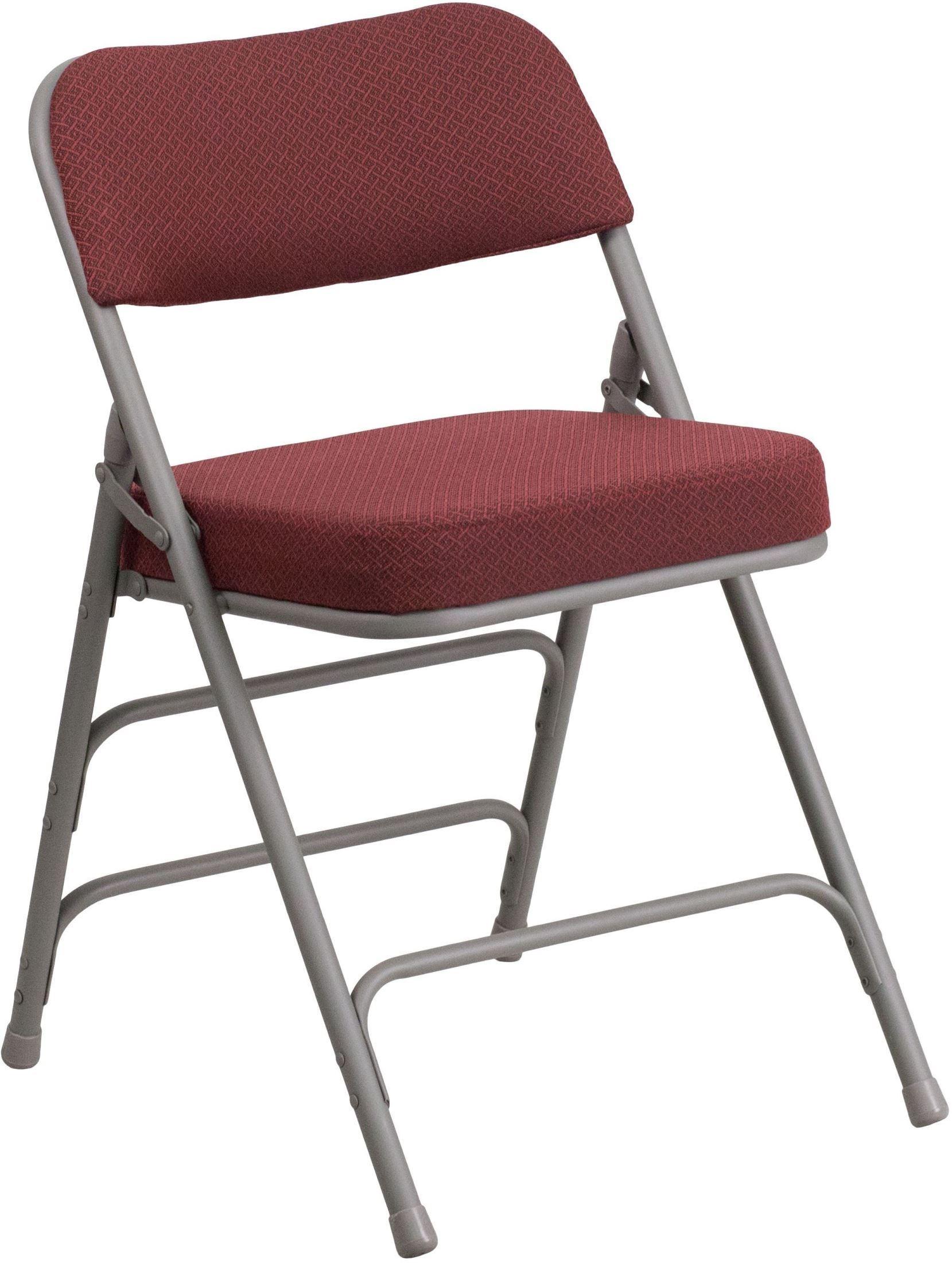 HERCULES Series Premium Burgundy Fabric Upholstered Metal Folding Chair AW M